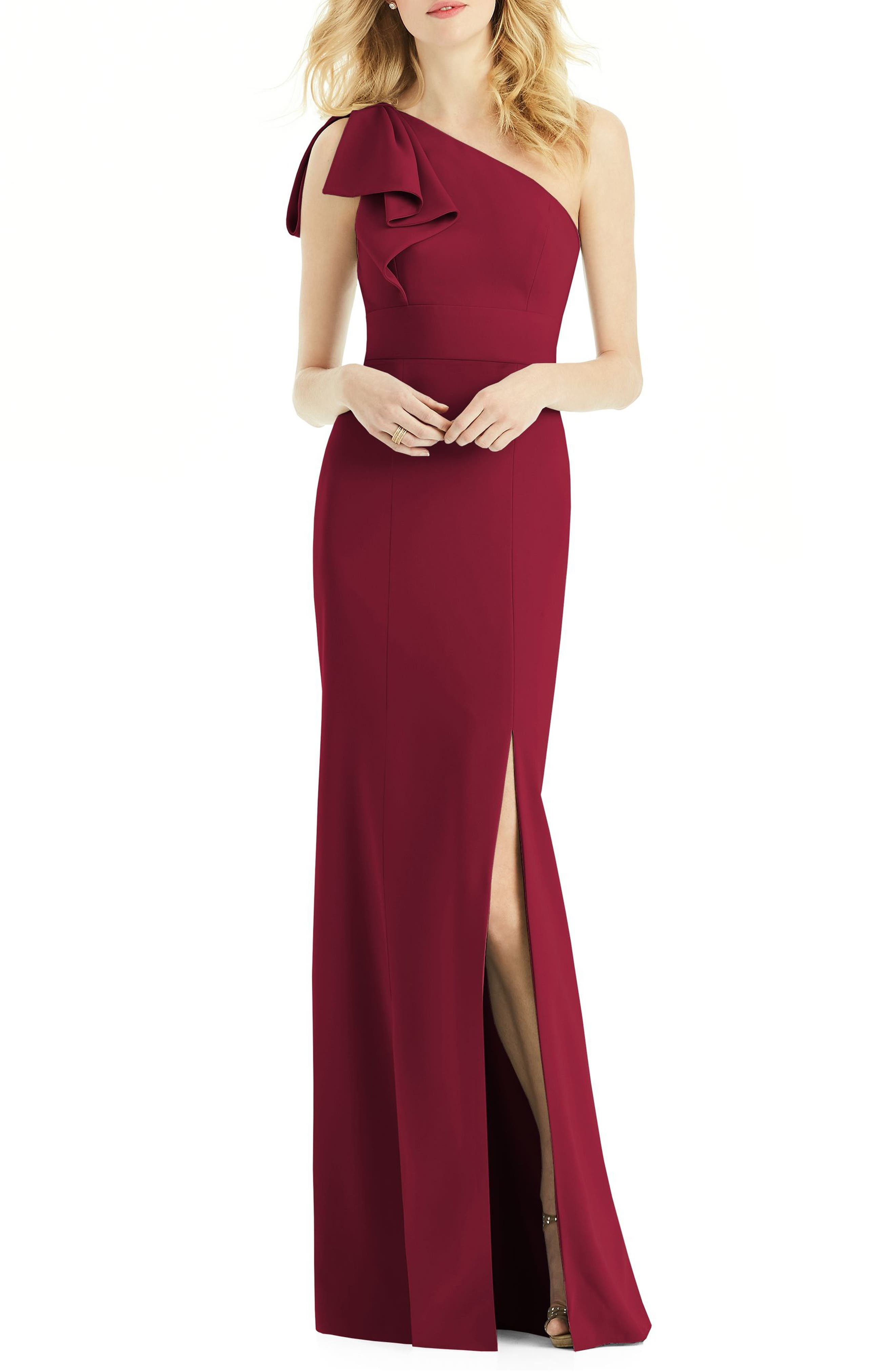 Bow One-Shoulder Gown,                             Main thumbnail 1, color,                             Burgundy