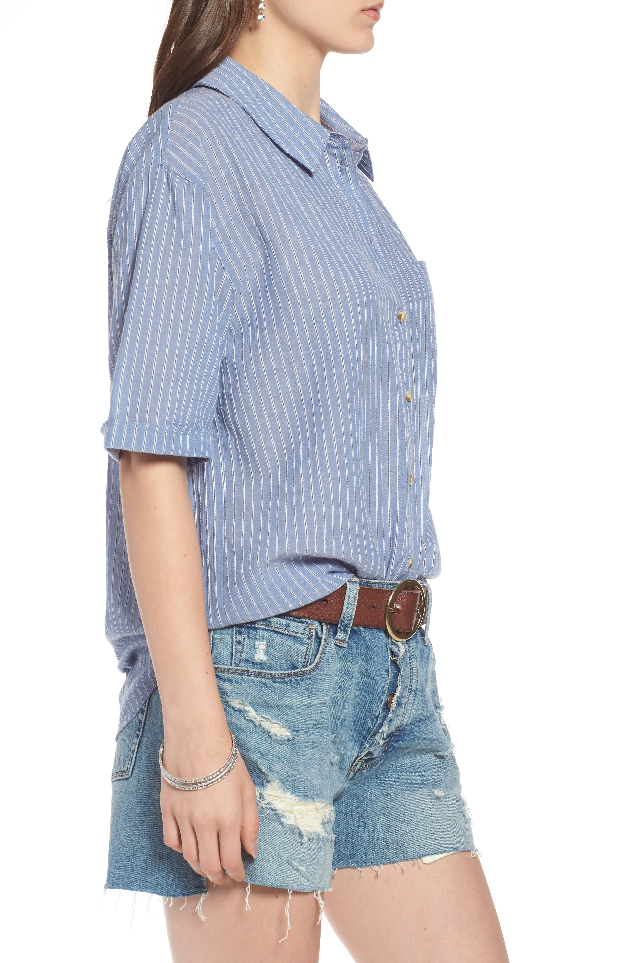 Stripe Button Front Shirt,                             Alternate thumbnail 3, color,                             Blue Airy Stripe