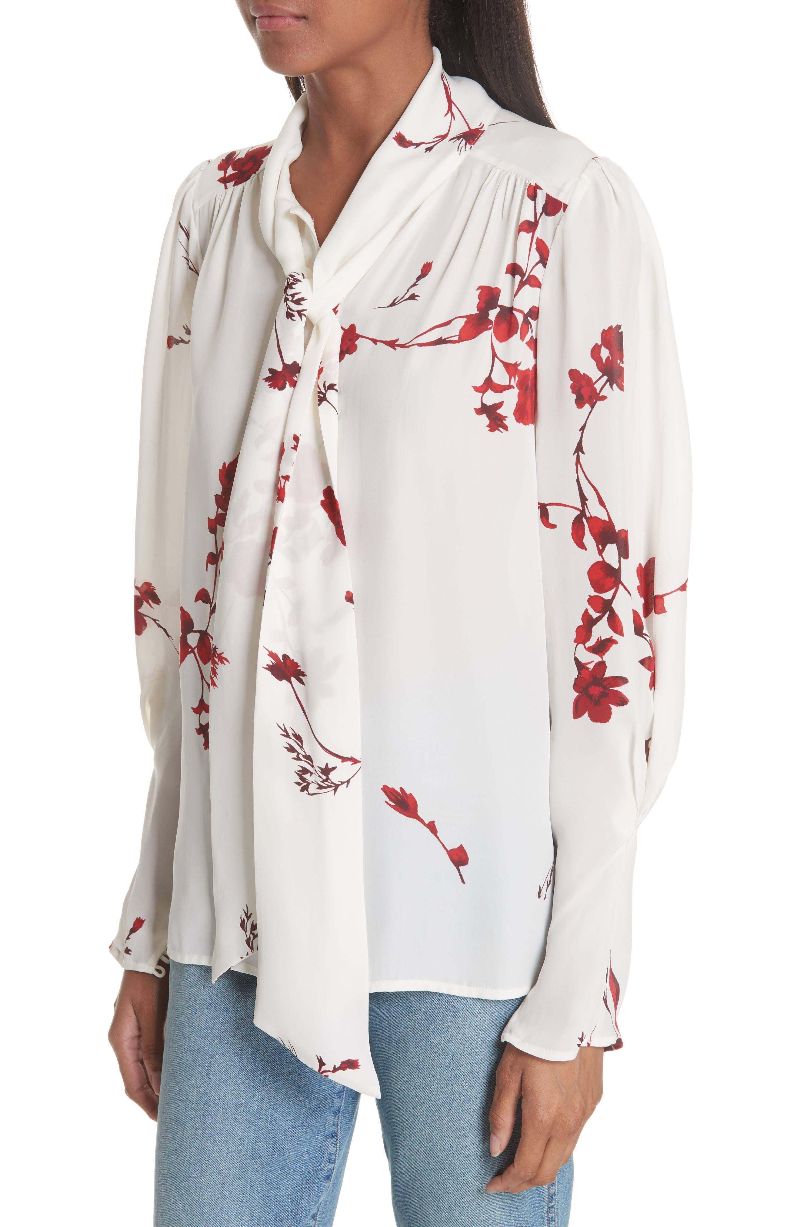 Angeletta Tie Neck Floral Silk Blouse,                             Alternate thumbnail 4, color,                             Porcelain