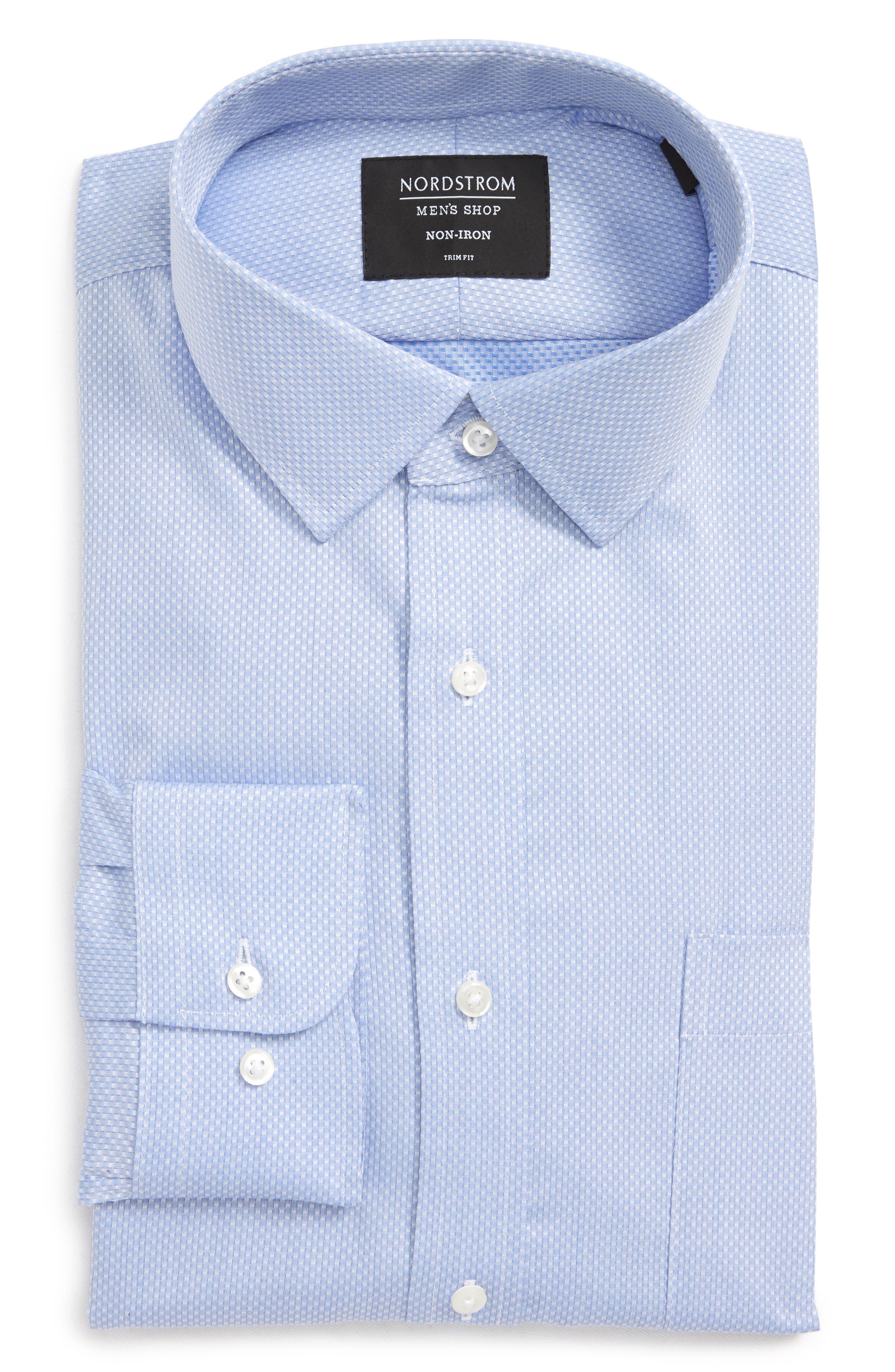 Trim Fit Solid Dress Shirt,                             Alternate thumbnail 6, color,                             Blue Azurite
