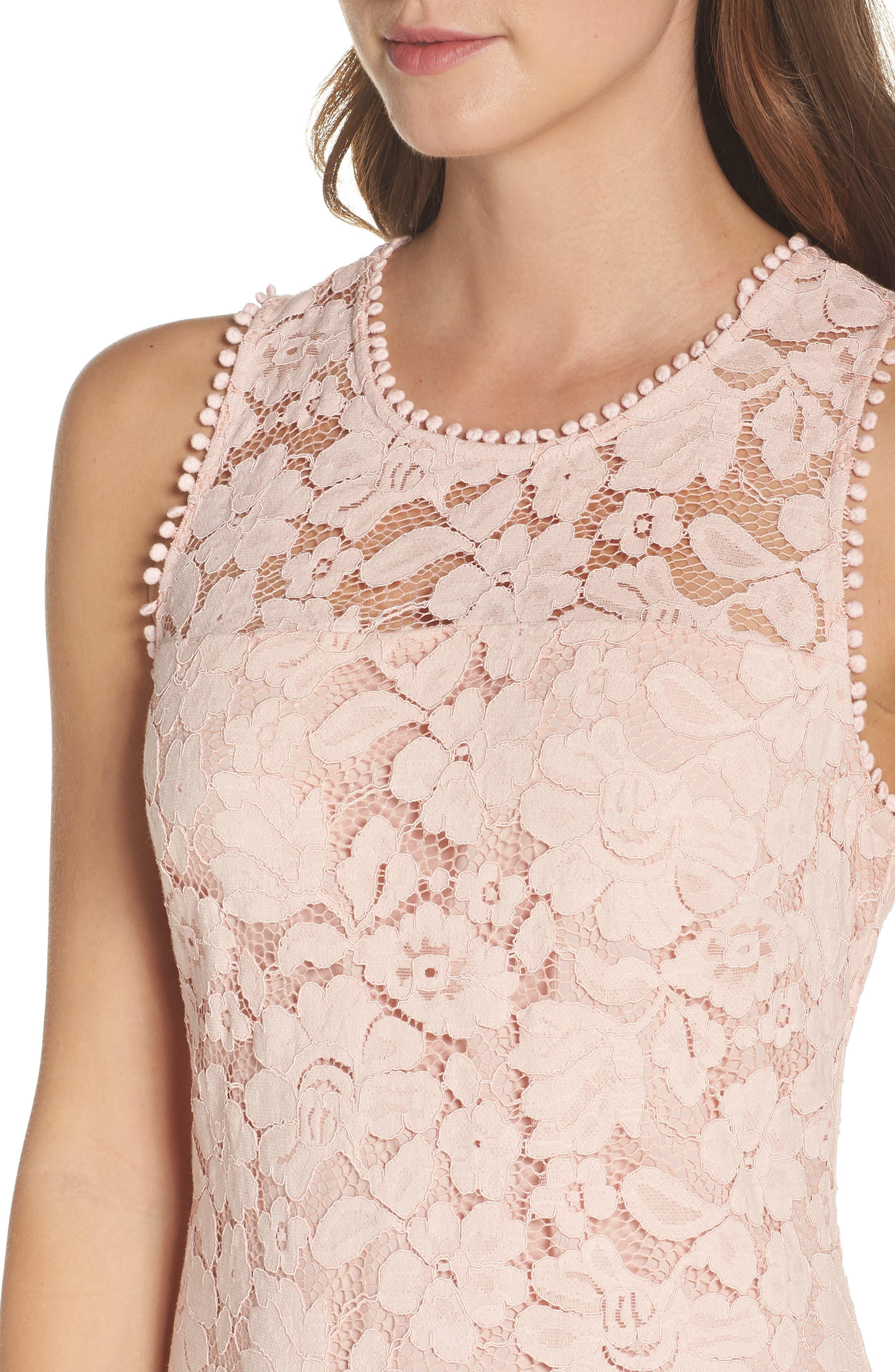 Sleeveless Lace Sheath Dress,                             Alternate thumbnail 4, color,                             Blush