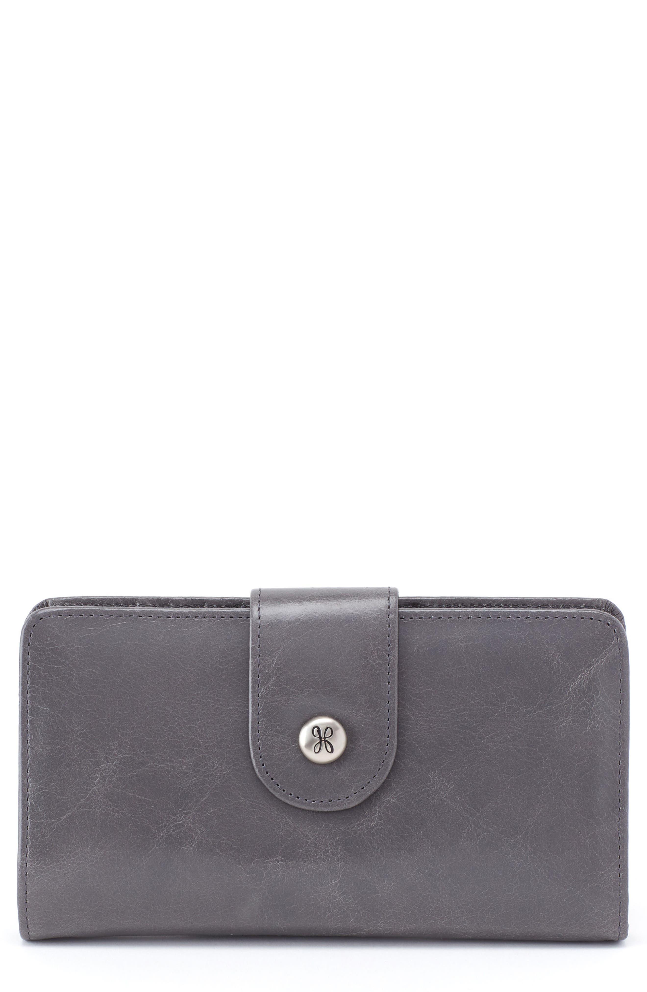 'Danette' Glazed Leather Continental Wallet,                             Main thumbnail 1, color,                             Graphite