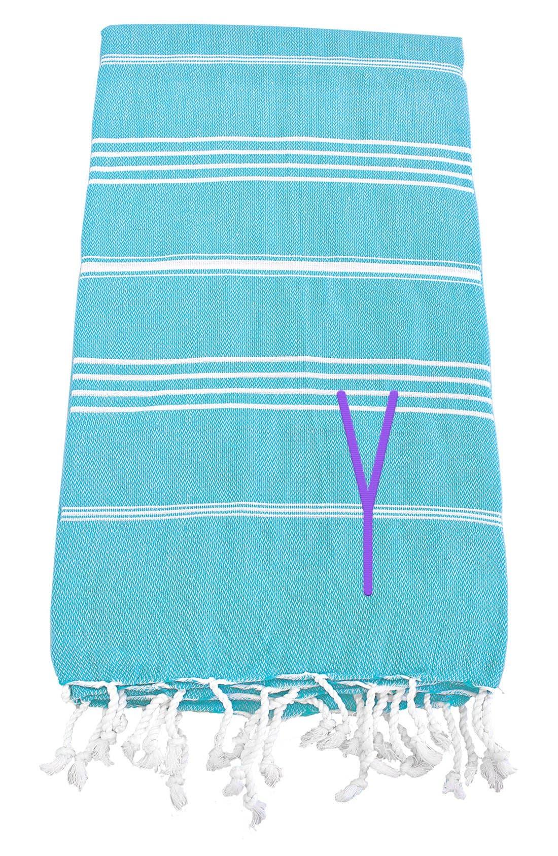 Monogram Turkish Cotton Towel,                             Main thumbnail 1, color,                             Turquoise - Y