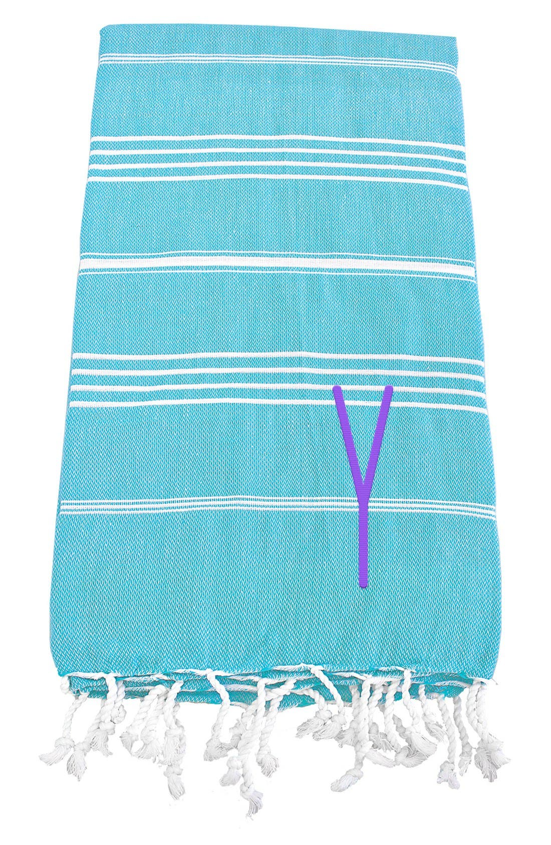 Monogram Turkish Cotton Towel,                         Main,                         color, Turquoise - Y