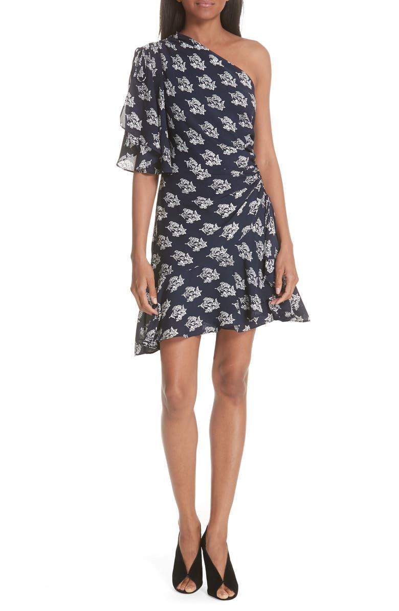 Misha Print One-Shoulder Silk Dress