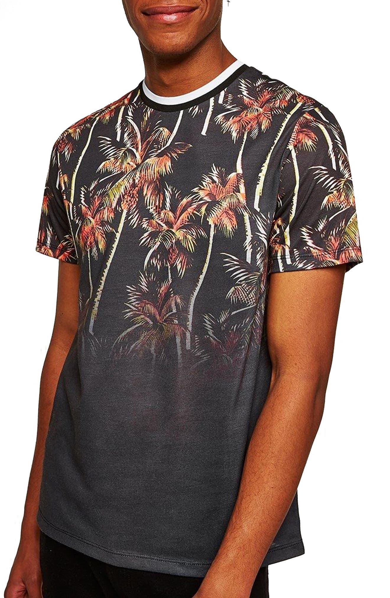 Palm Tree Print T-Shirt,                             Main thumbnail 1, color,                             Black Multi