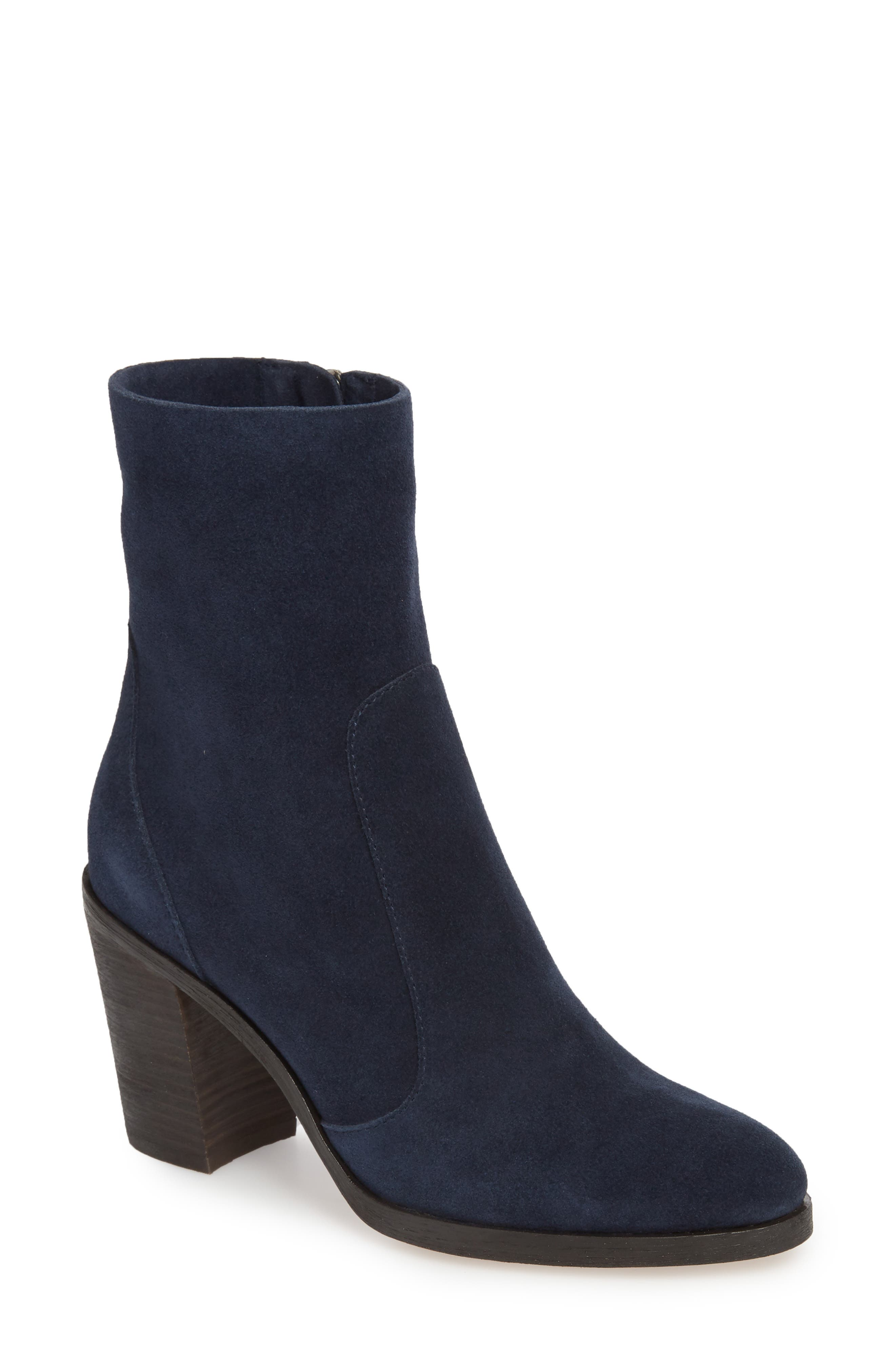 Roselyn II Almond Toe Bootie,                             Main thumbnail 1, color,                             Navy Suede