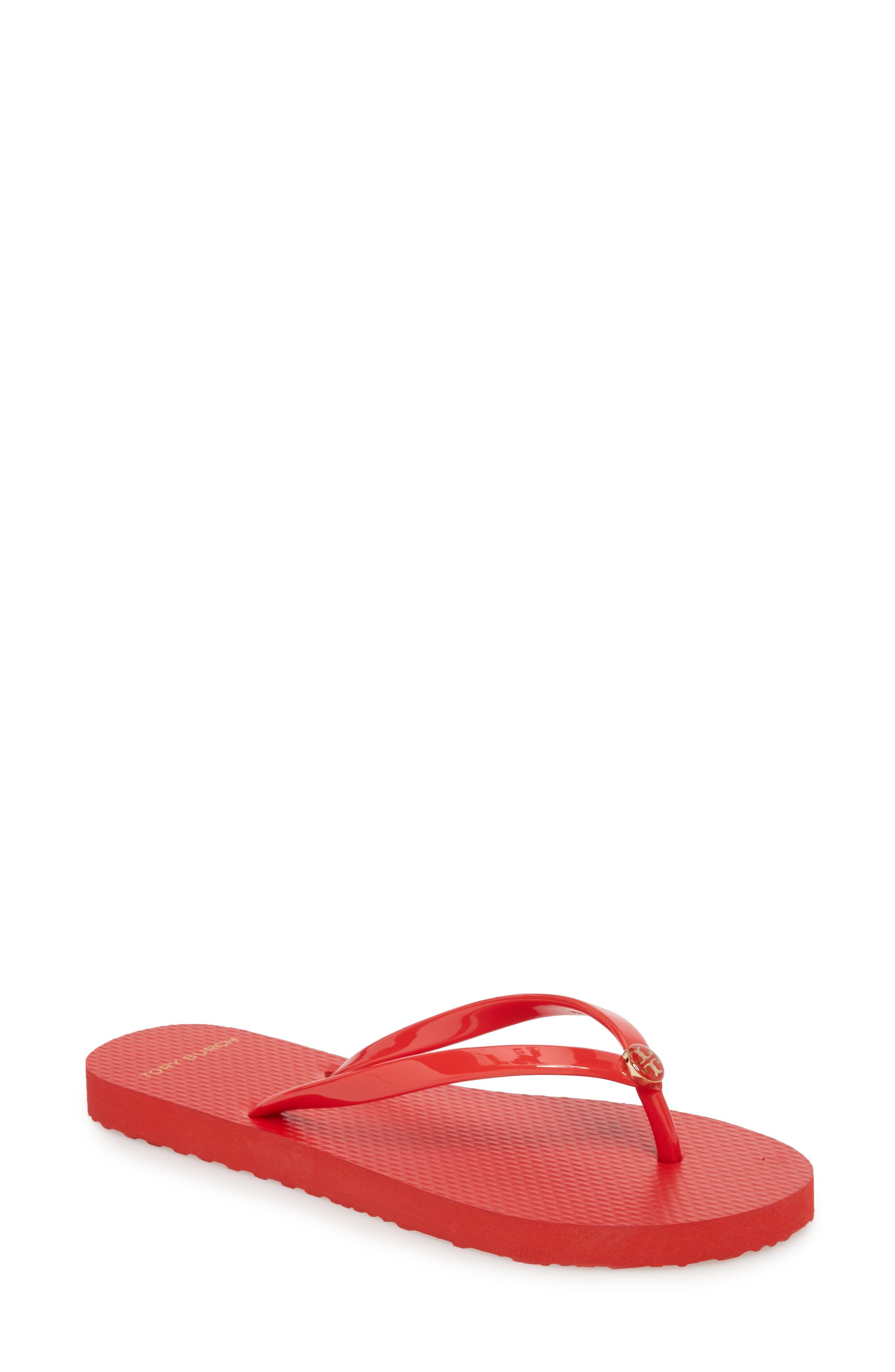 Logo Flip Flop,                             Main thumbnail 1, color,                             Brilliant Red