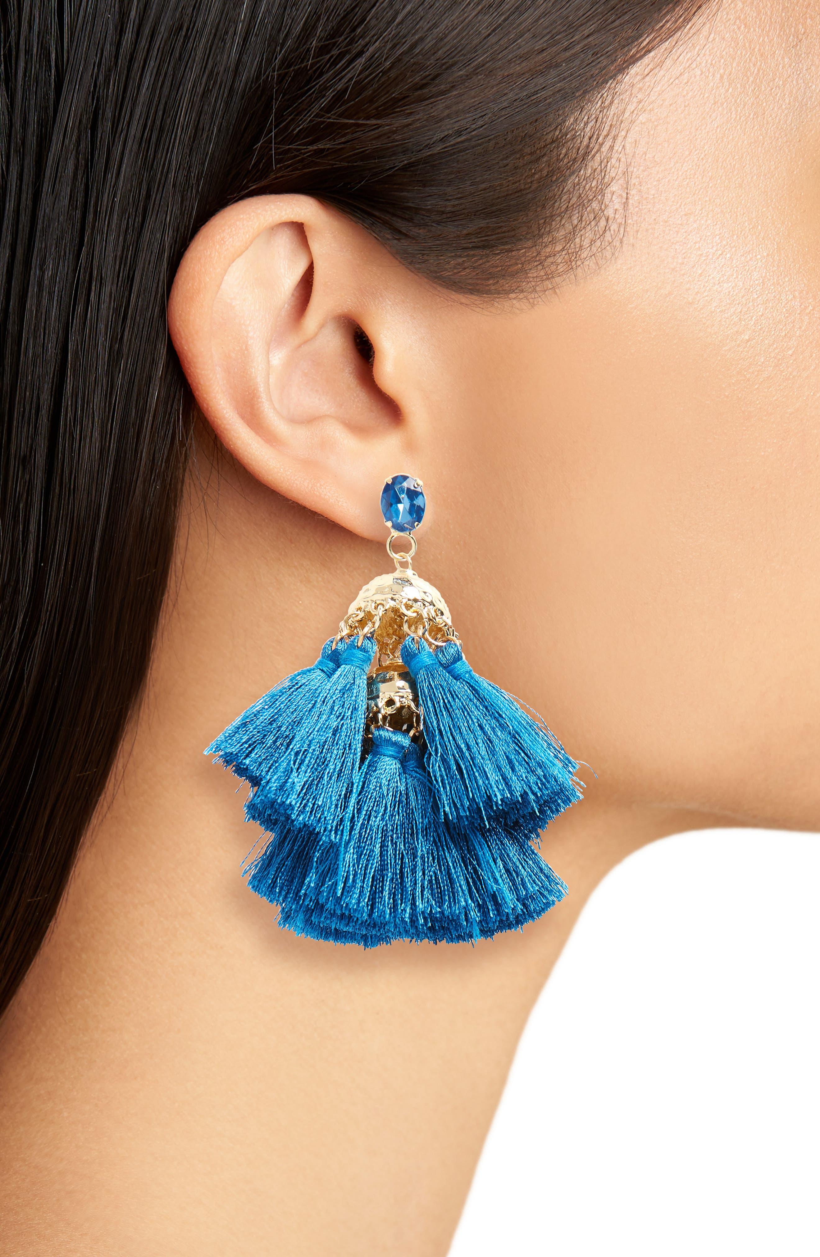 Hammered Charm & Tassel Earrings,                             Alternate thumbnail 2, color,                             Gold/ Blue