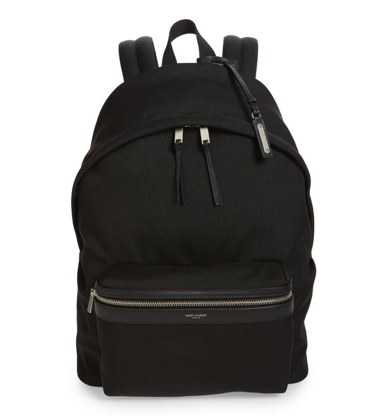 3e85b319d Saint Laurent Giant City Backpack In Canvas Nylon And Leather In Black
