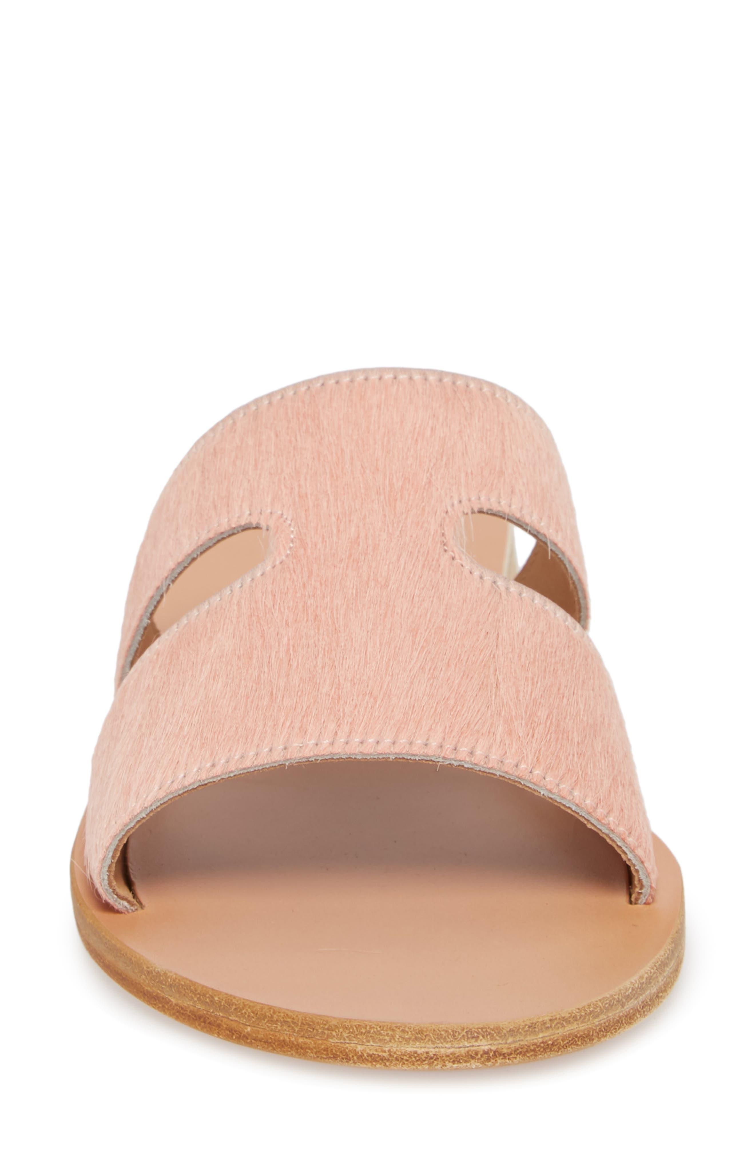 Apteros Genuine Calf Hair Slide Sandal,                             Alternate thumbnail 4, color,                             Pink Pony
