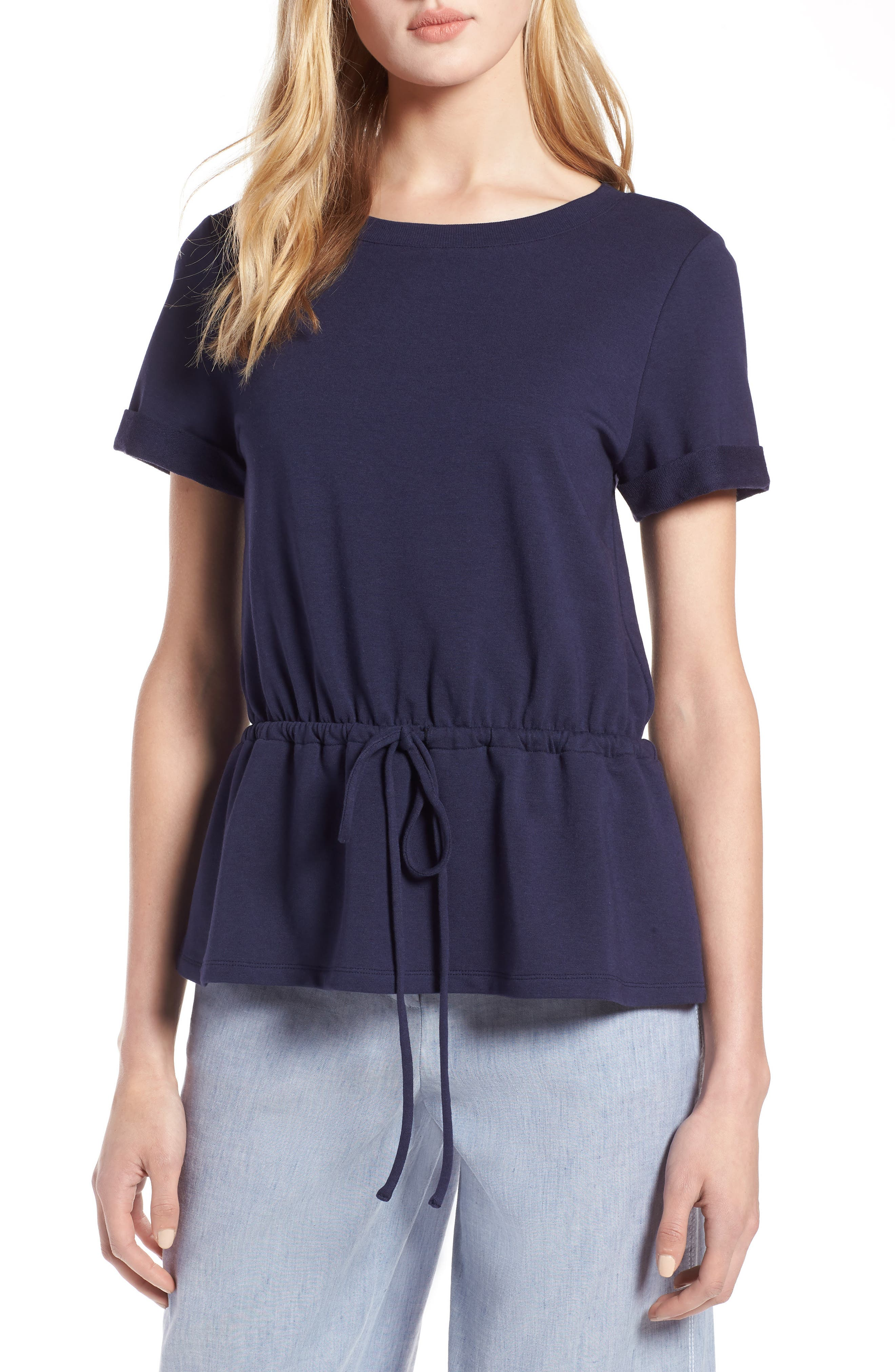 Drawcord Peplum Cotton Blend Top,                         Main,                         color, Navy Peacoat