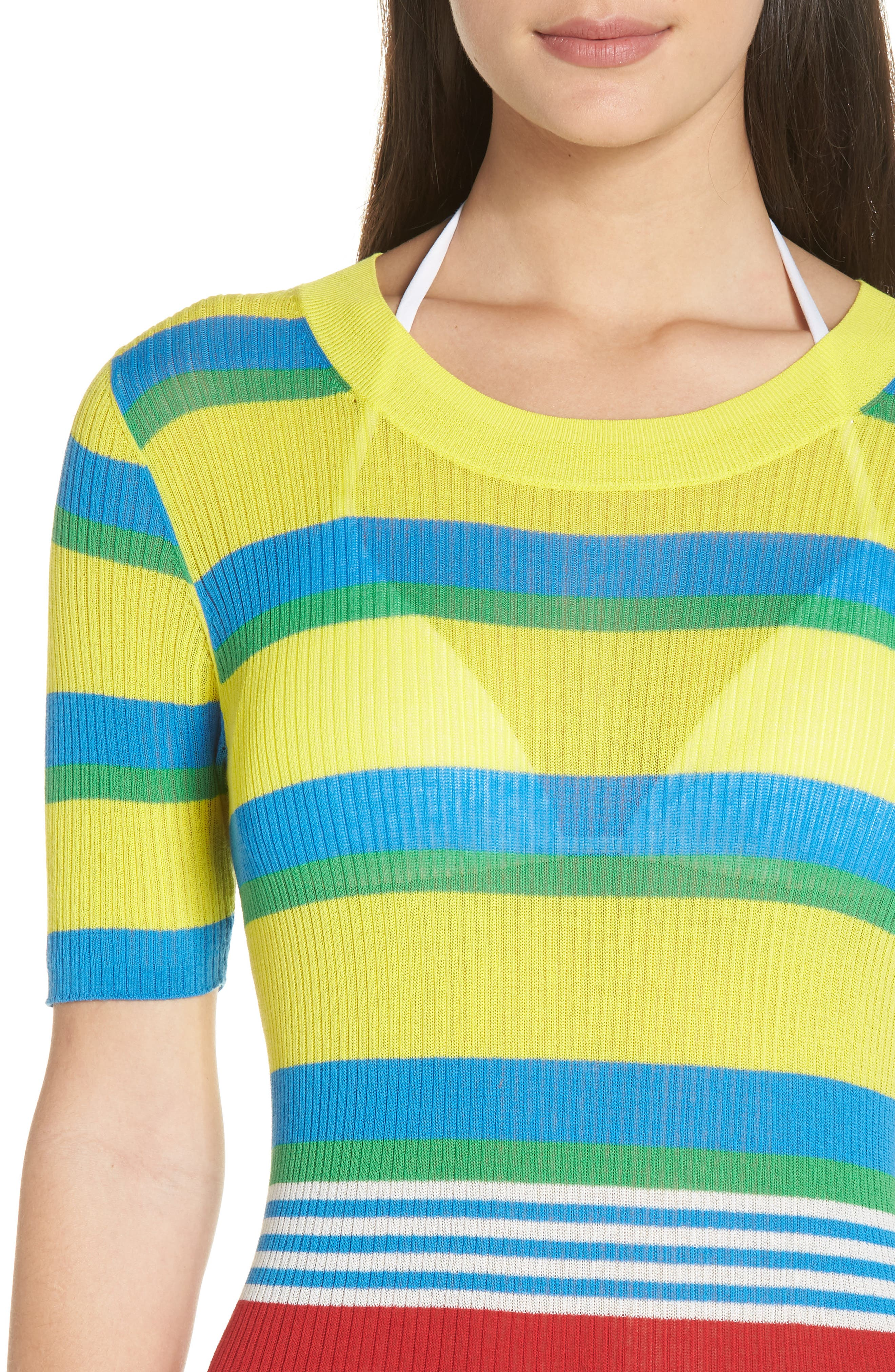 DVF Stripe Ribbed Cover-Up Sweater Dress,                             Alternate thumbnail 4, color,                             Cadmium Multi