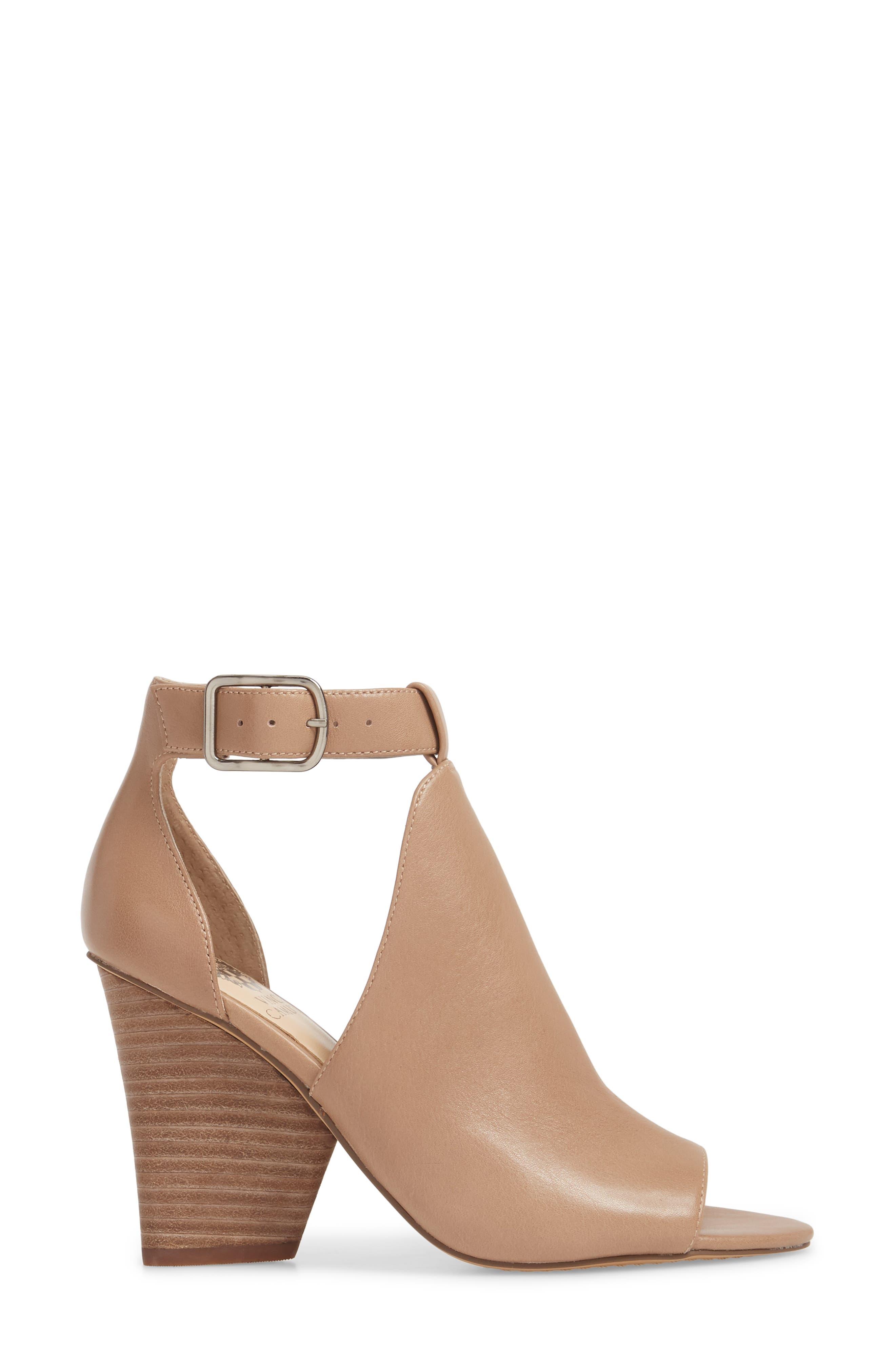 Adaren Peep Toe Sandal,                             Alternate thumbnail 3, color,                             Dusty Trail Leather
