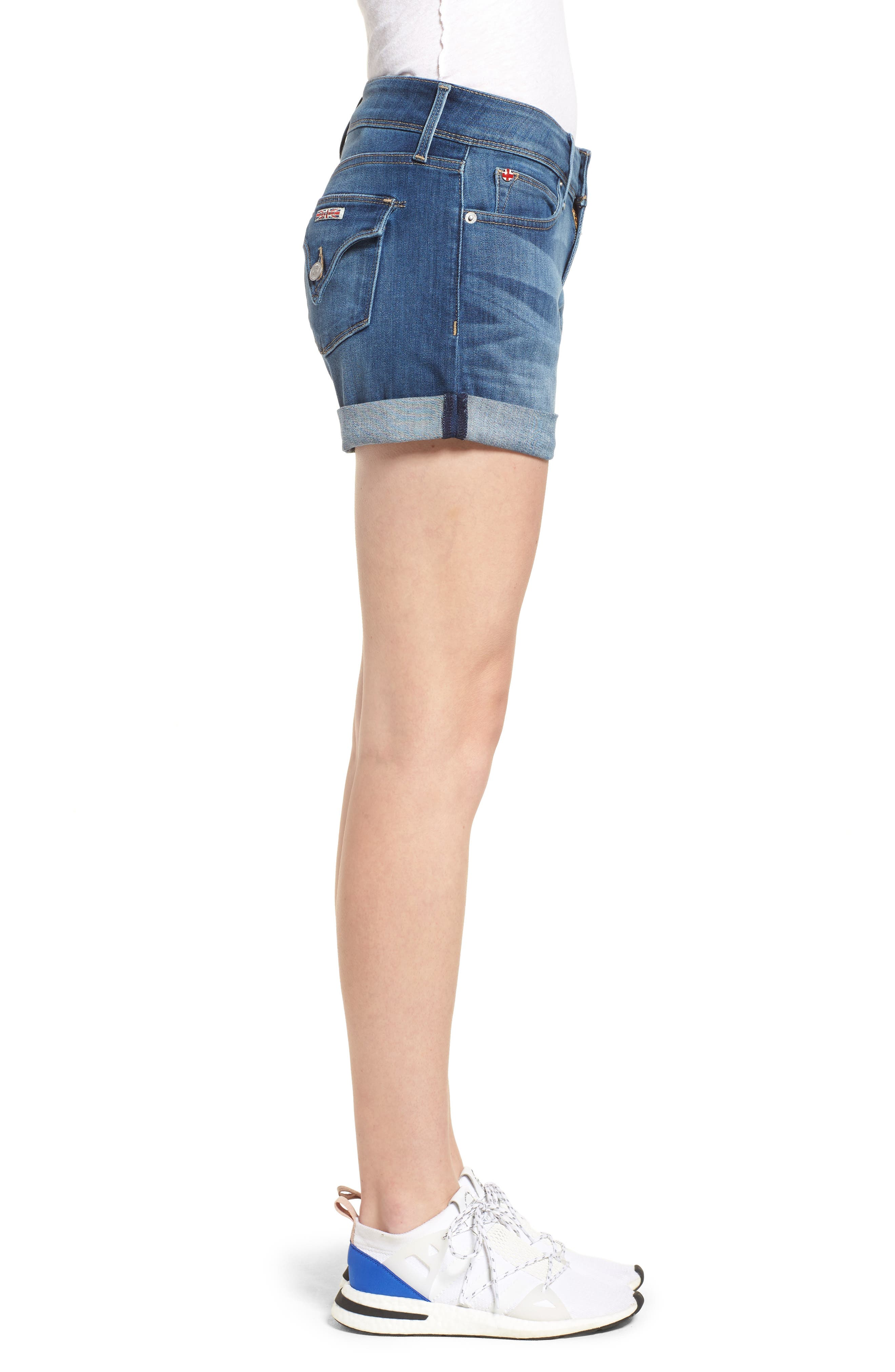 'Croxley' Cuffed Denim Shorts,                             Alternate thumbnail 3, color,                             Paramour
