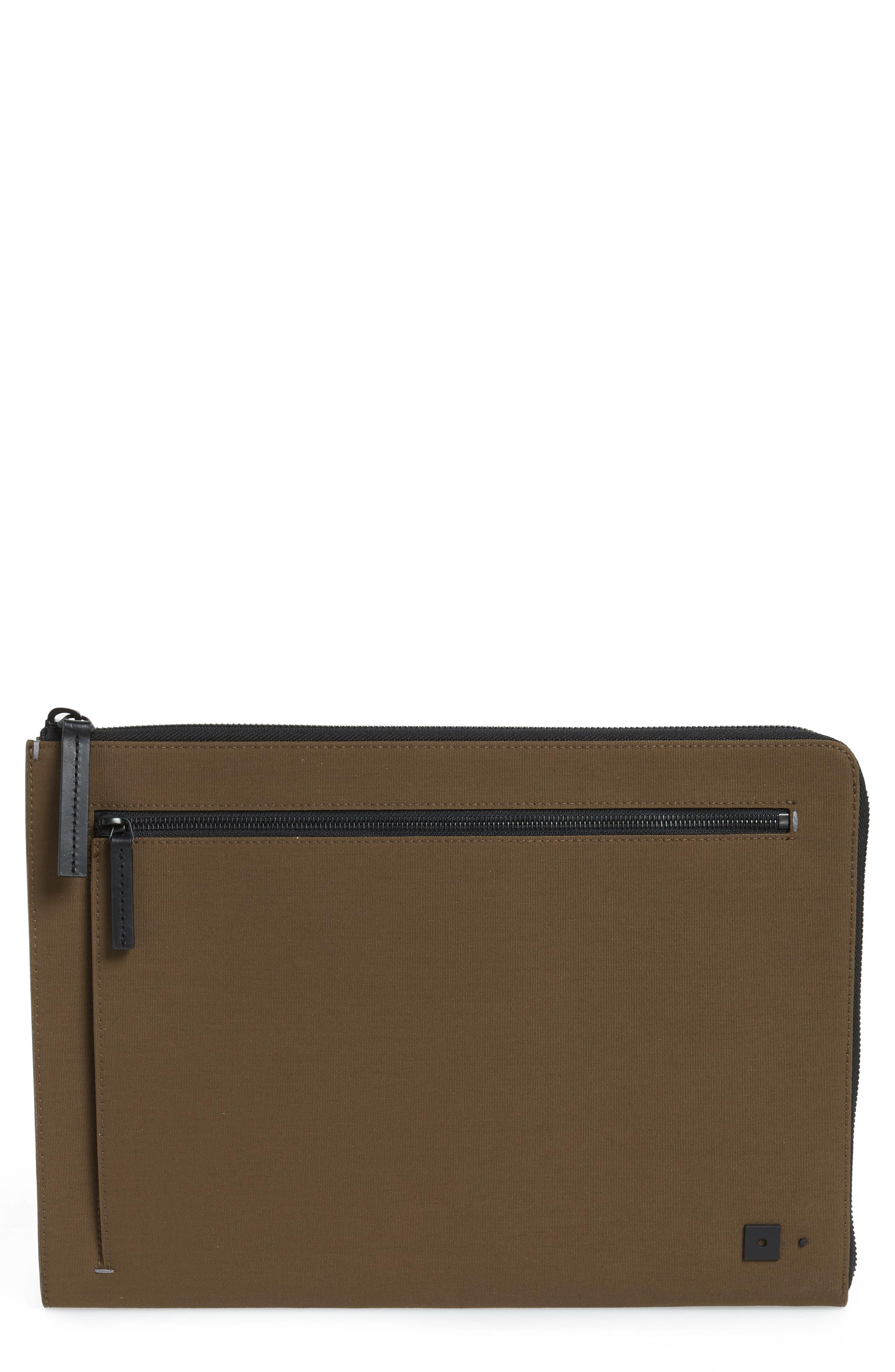 Portfolio Case,                             Main thumbnail 1, color,                             Khaki Canvas/ Black Leather