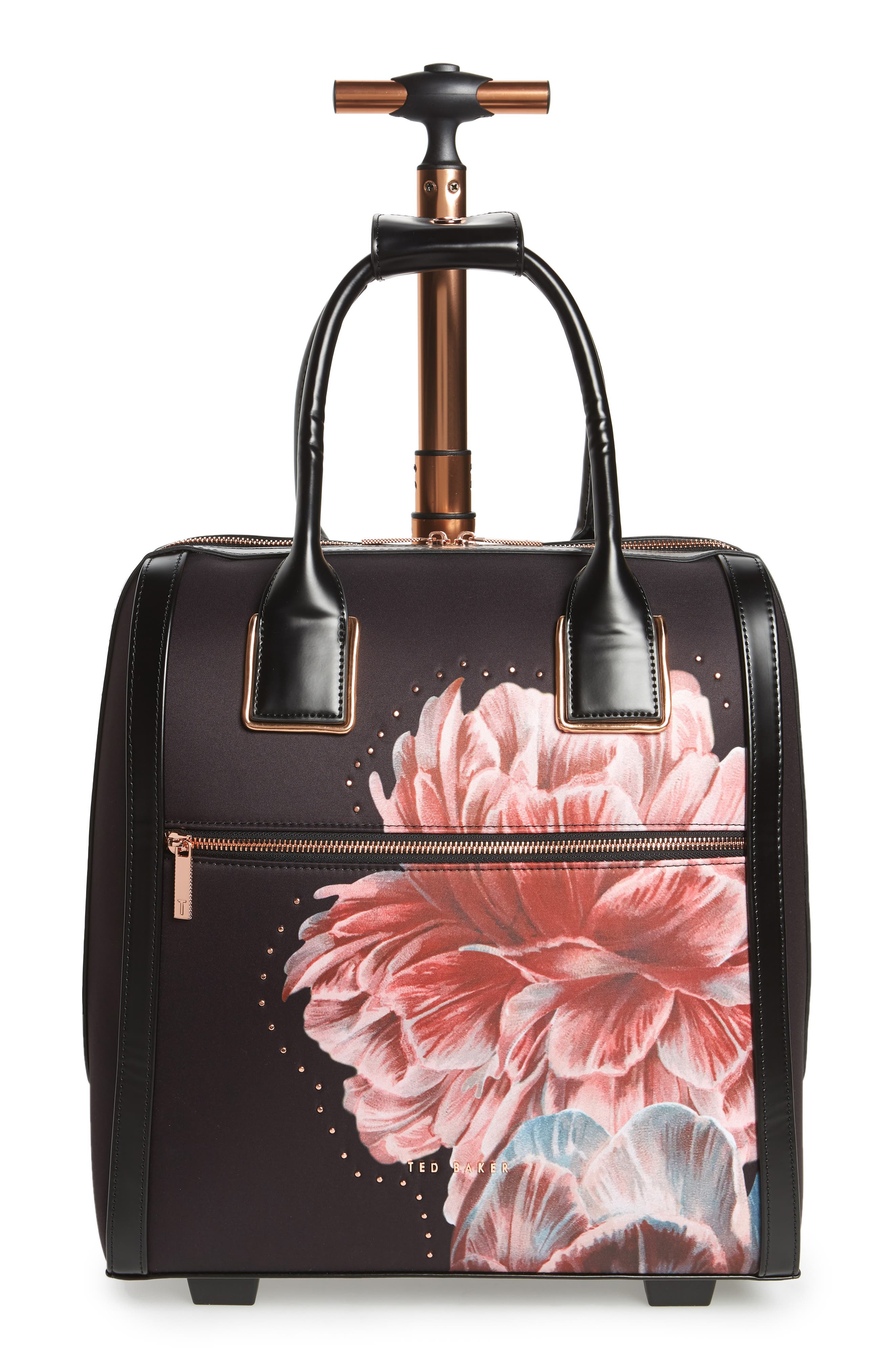 Tranquility Rolling Faux Leather Travel Bag,                             Main thumbnail 1, color,                             Black