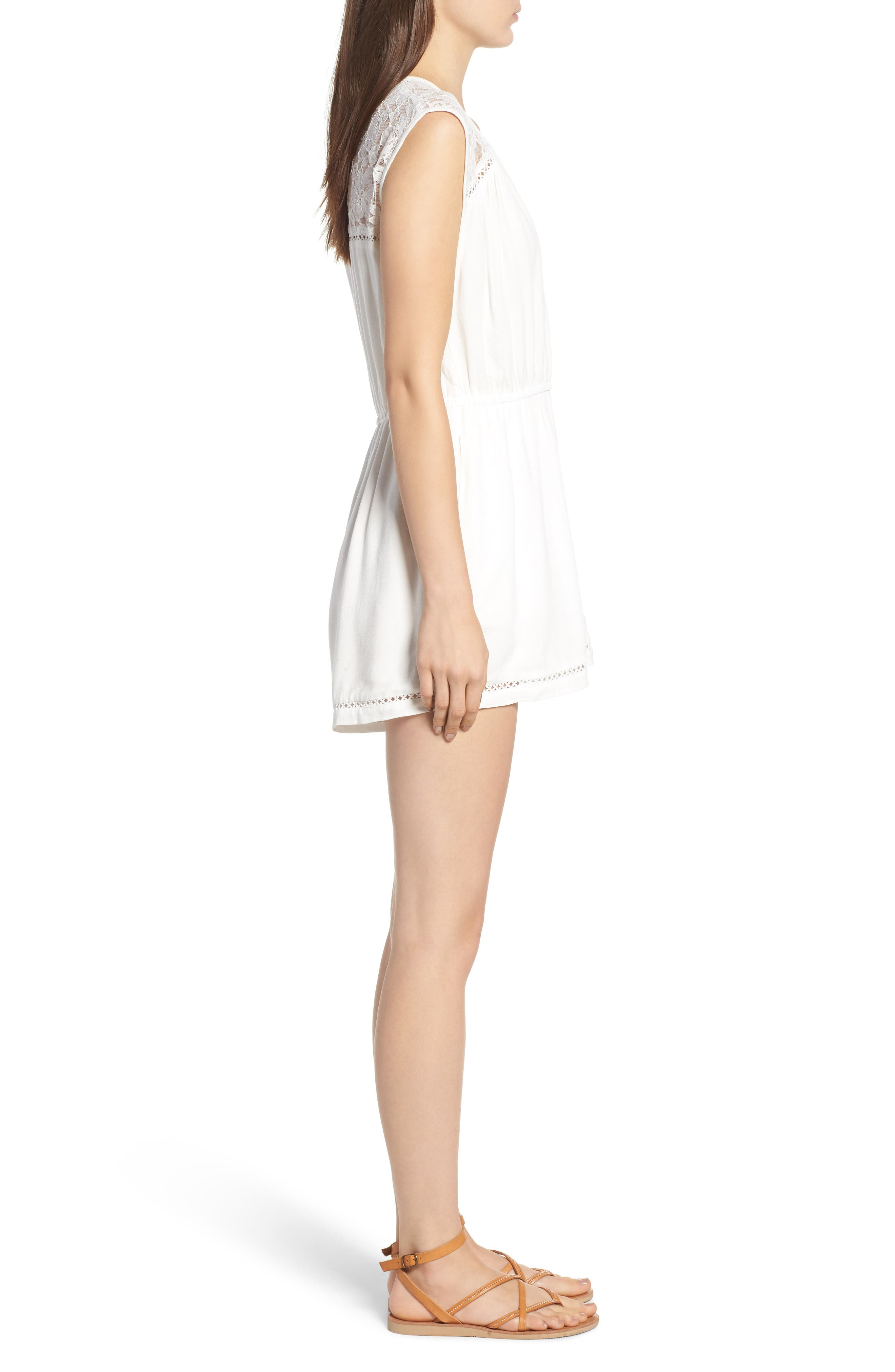Oceans Away Lace Panel Romper,                             Alternate thumbnail 4, color,                             White