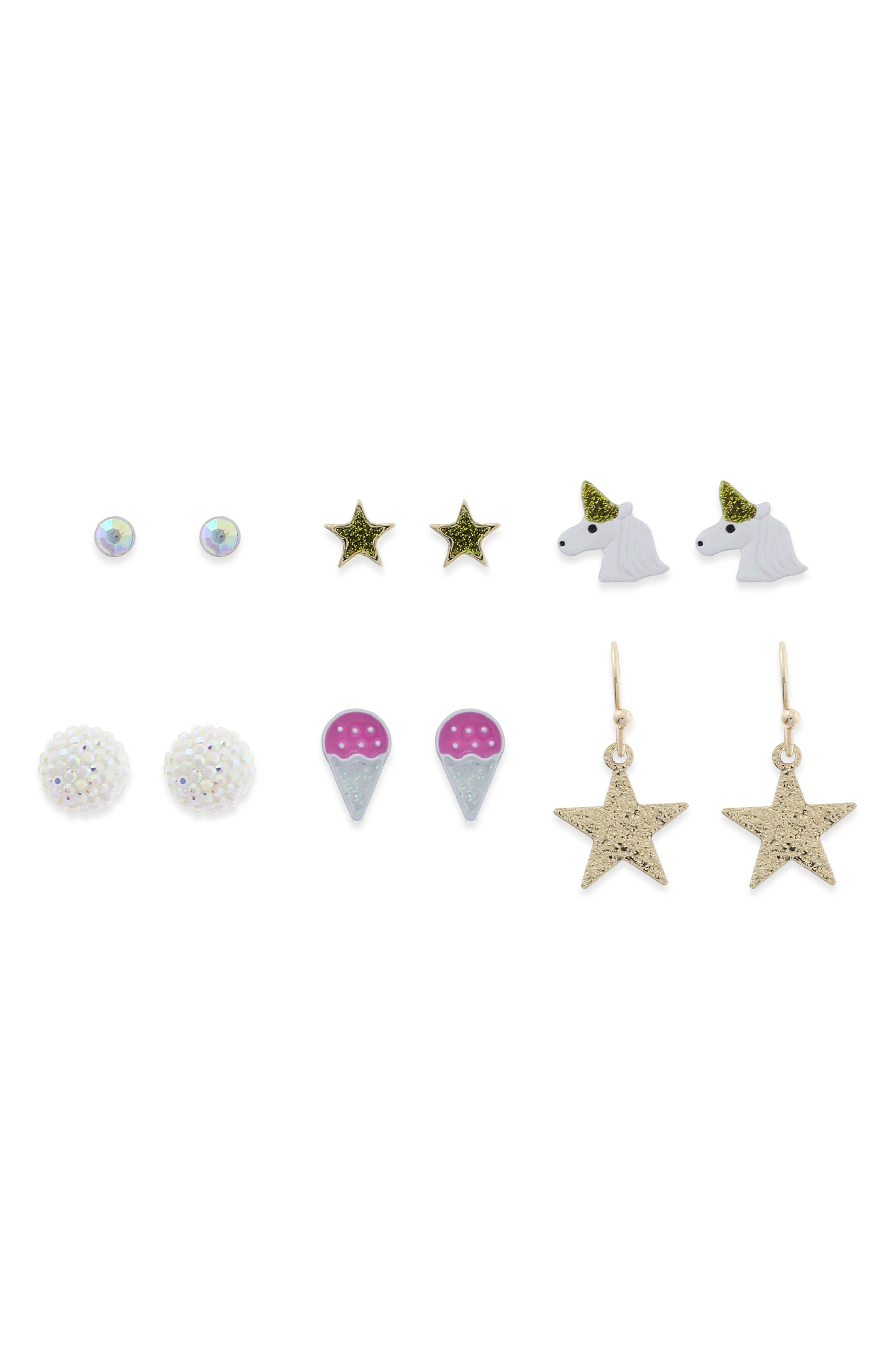Set of 6 Girl Power Earrings,                             Main thumbnail 1, color,                             Gold Combo