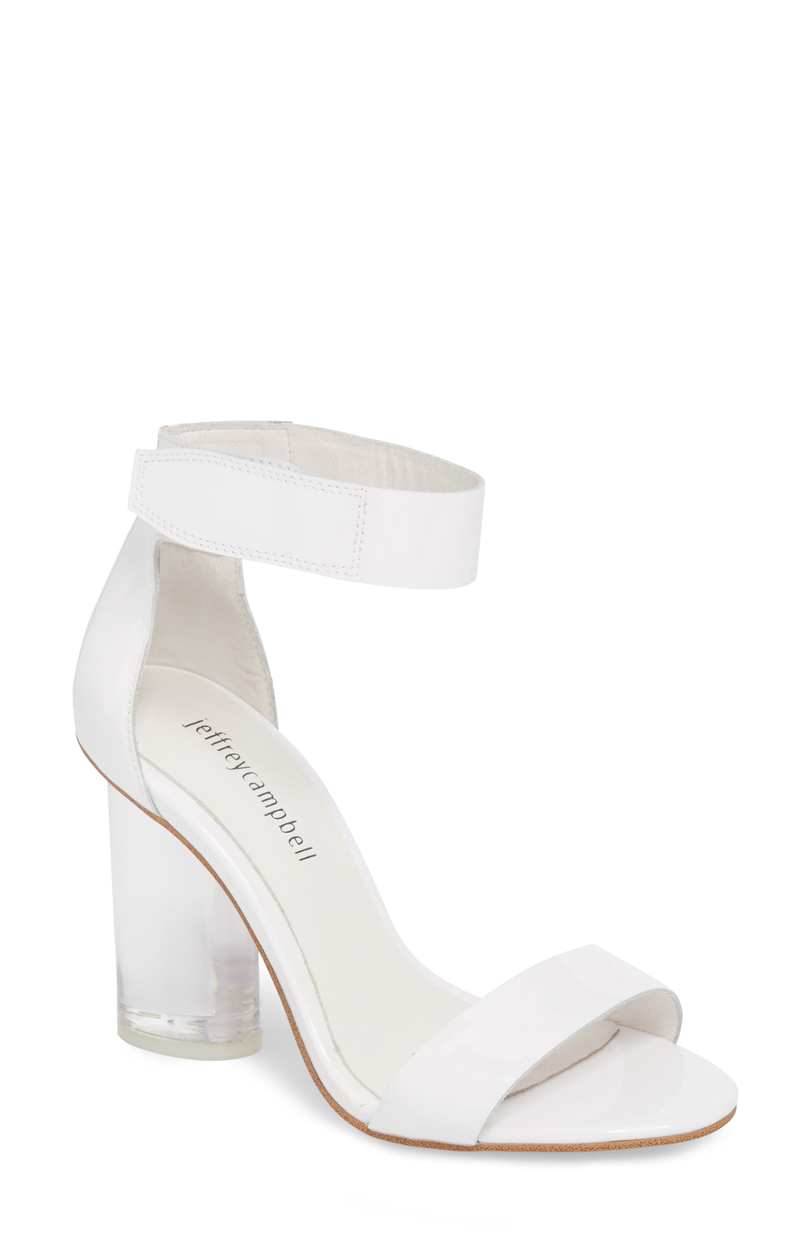 Alessa Clear Heel Sandal,                             Main thumbnail 1, color,                             White Patent