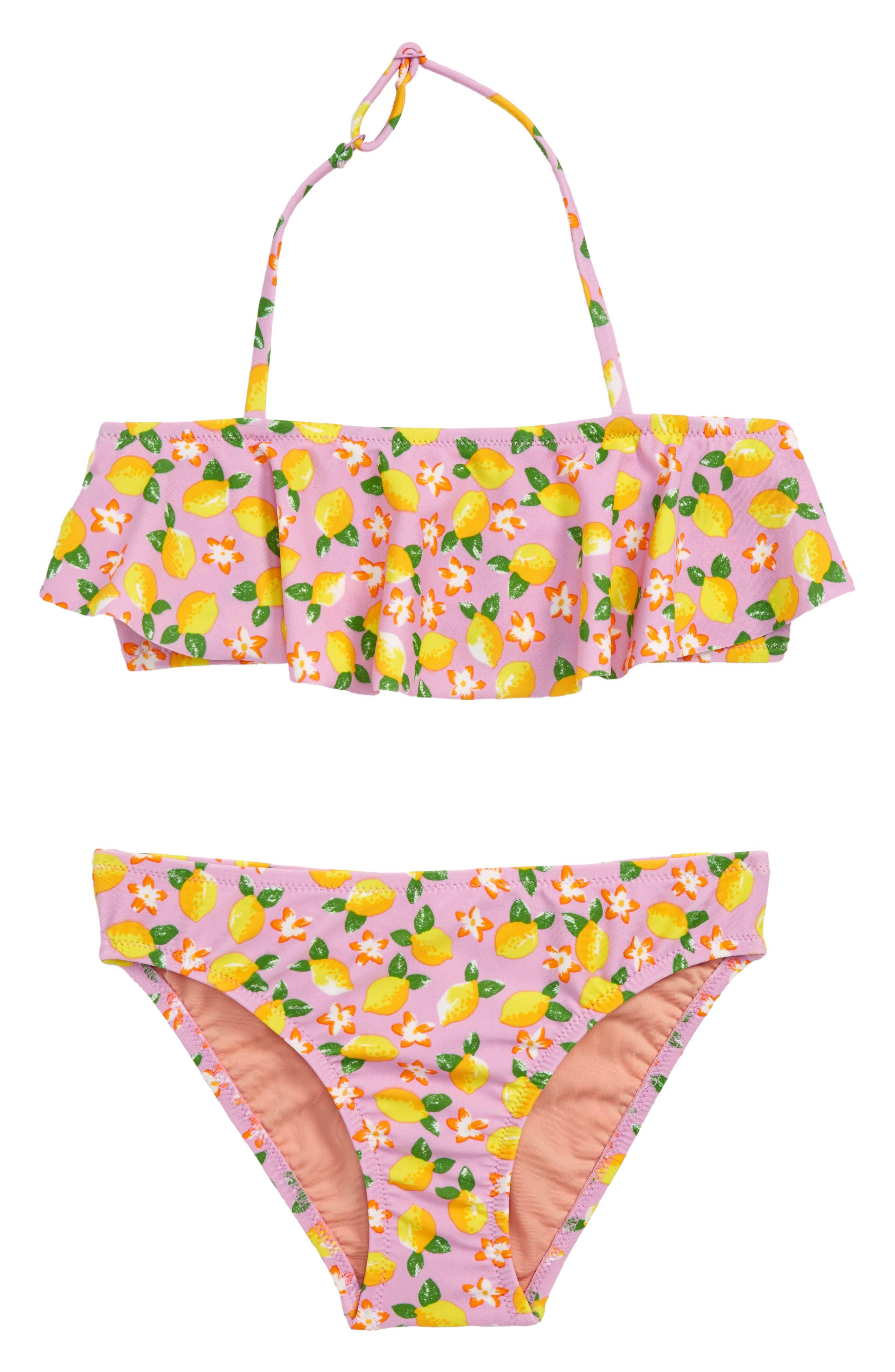 Lemon Print Ruffle Two-Piece Swimsuit,                             Main thumbnail 1, color,                             Lemon Multi
