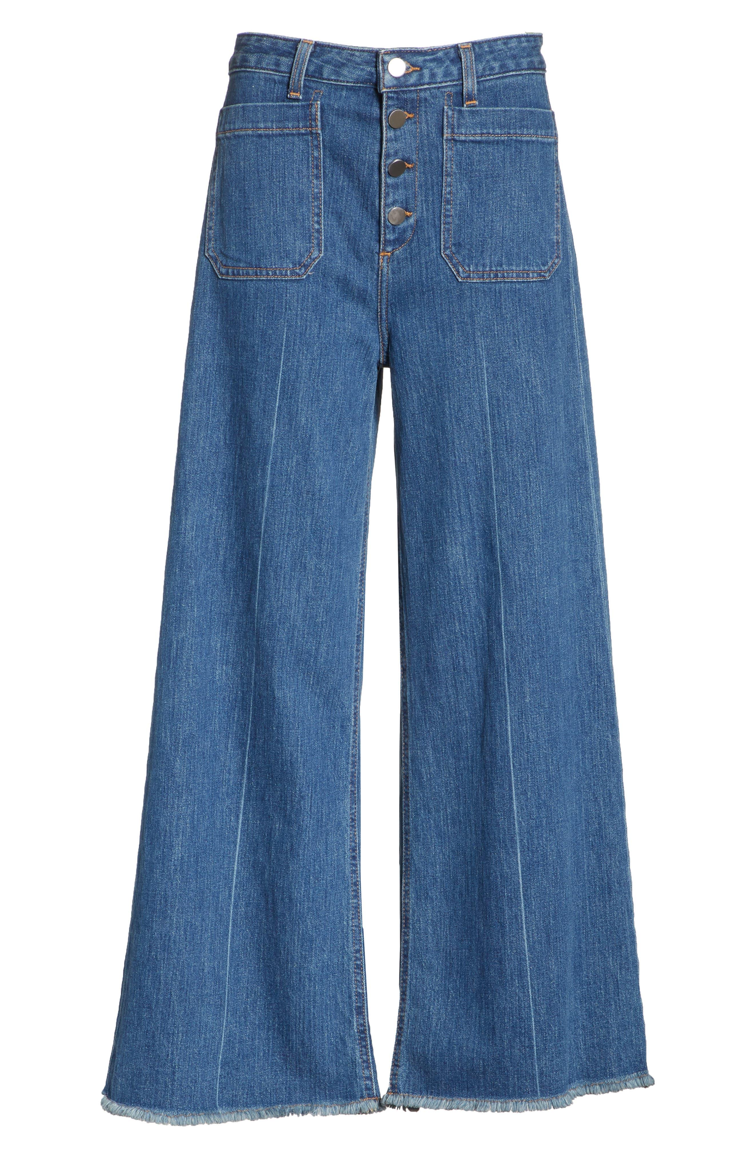 Carmine Wide Leg Jeans,                             Alternate thumbnail 6, color,                             Medium Denim