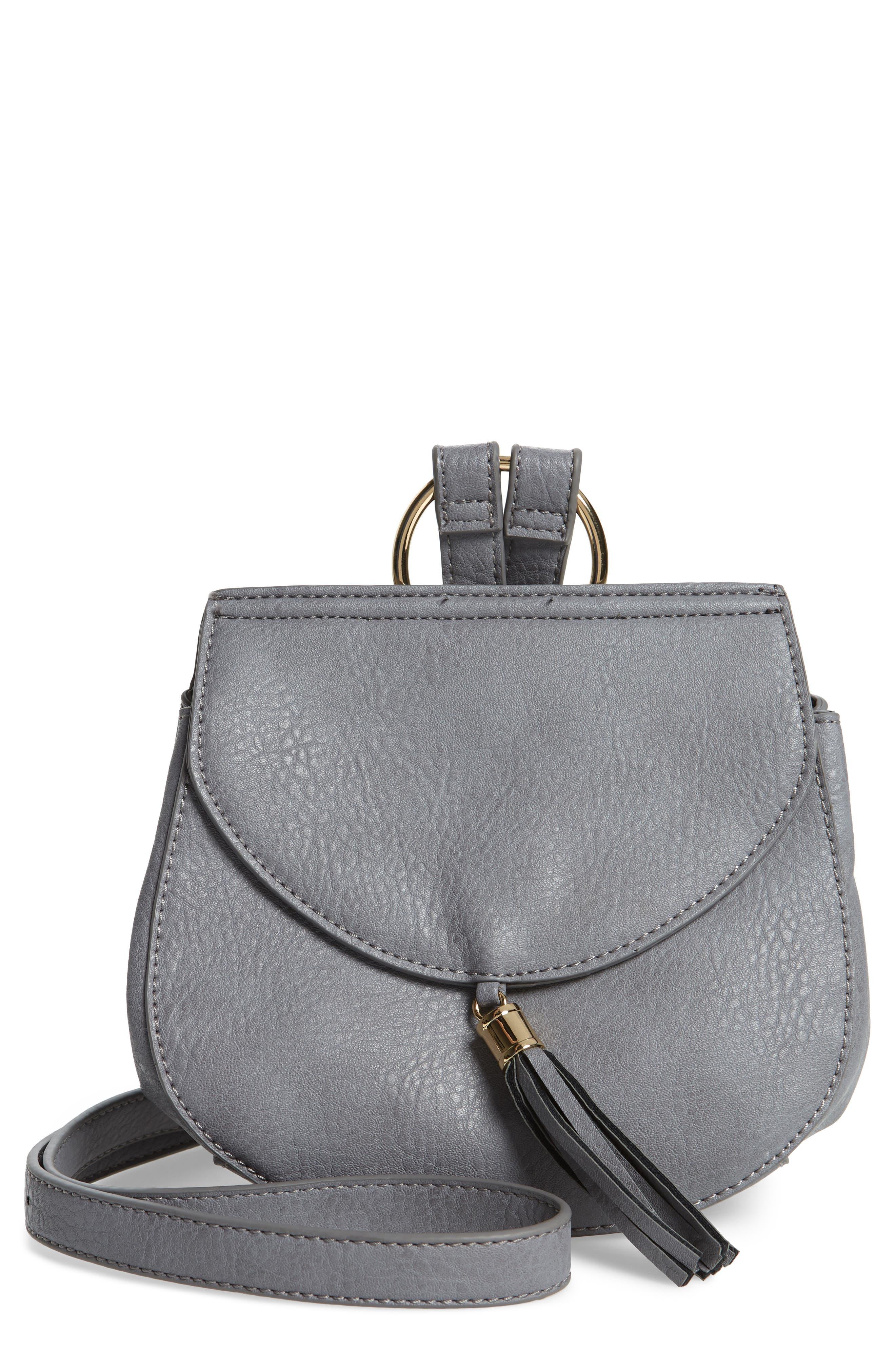 Tassel Faux Leather Crossbody Saddle Bag,                         Main,                         color, Grey