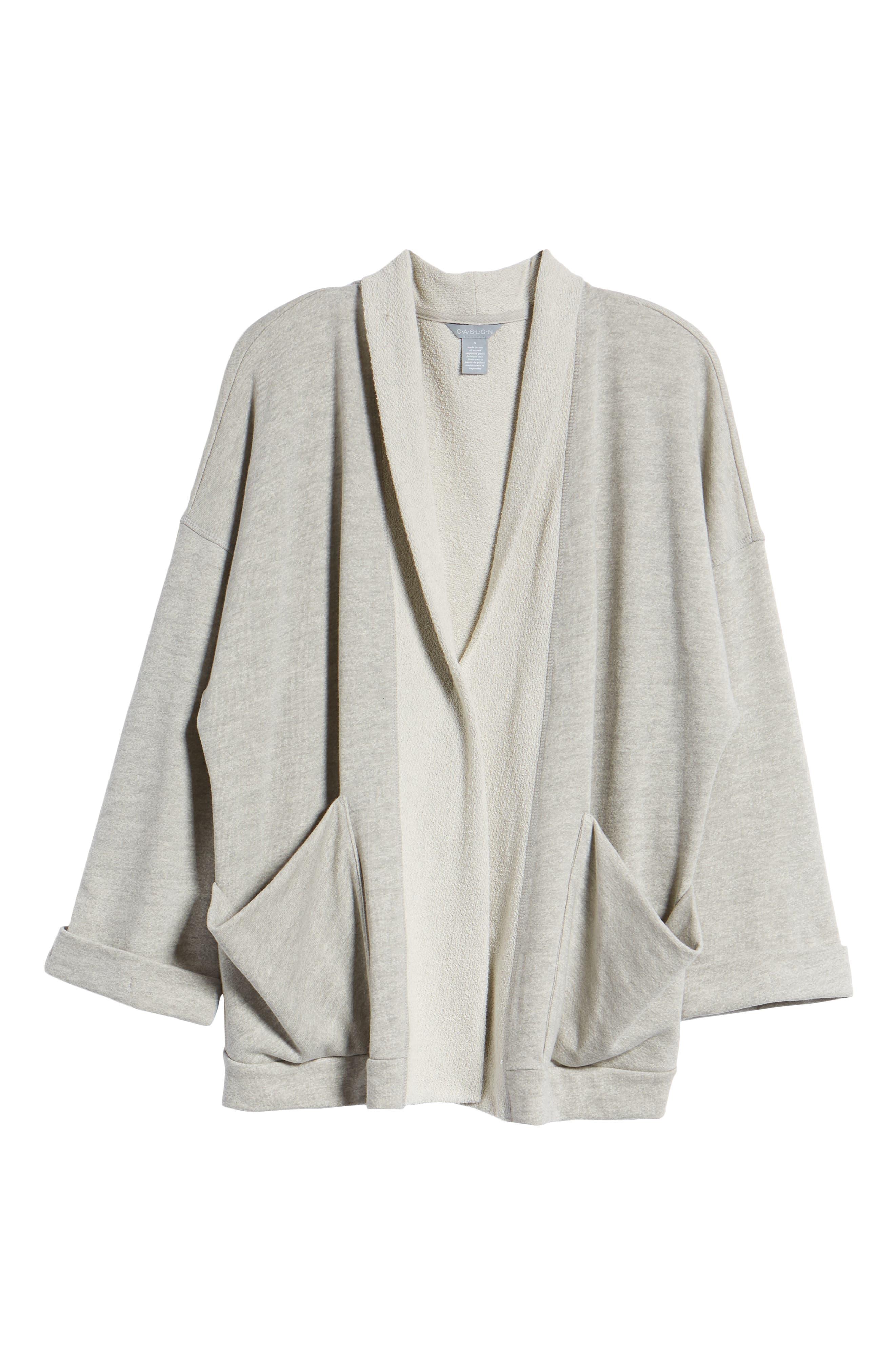Off-Duty Roll Sleeve Cotton Blend Jacket,                             Alternate thumbnail 7, color,                             Grey Heather