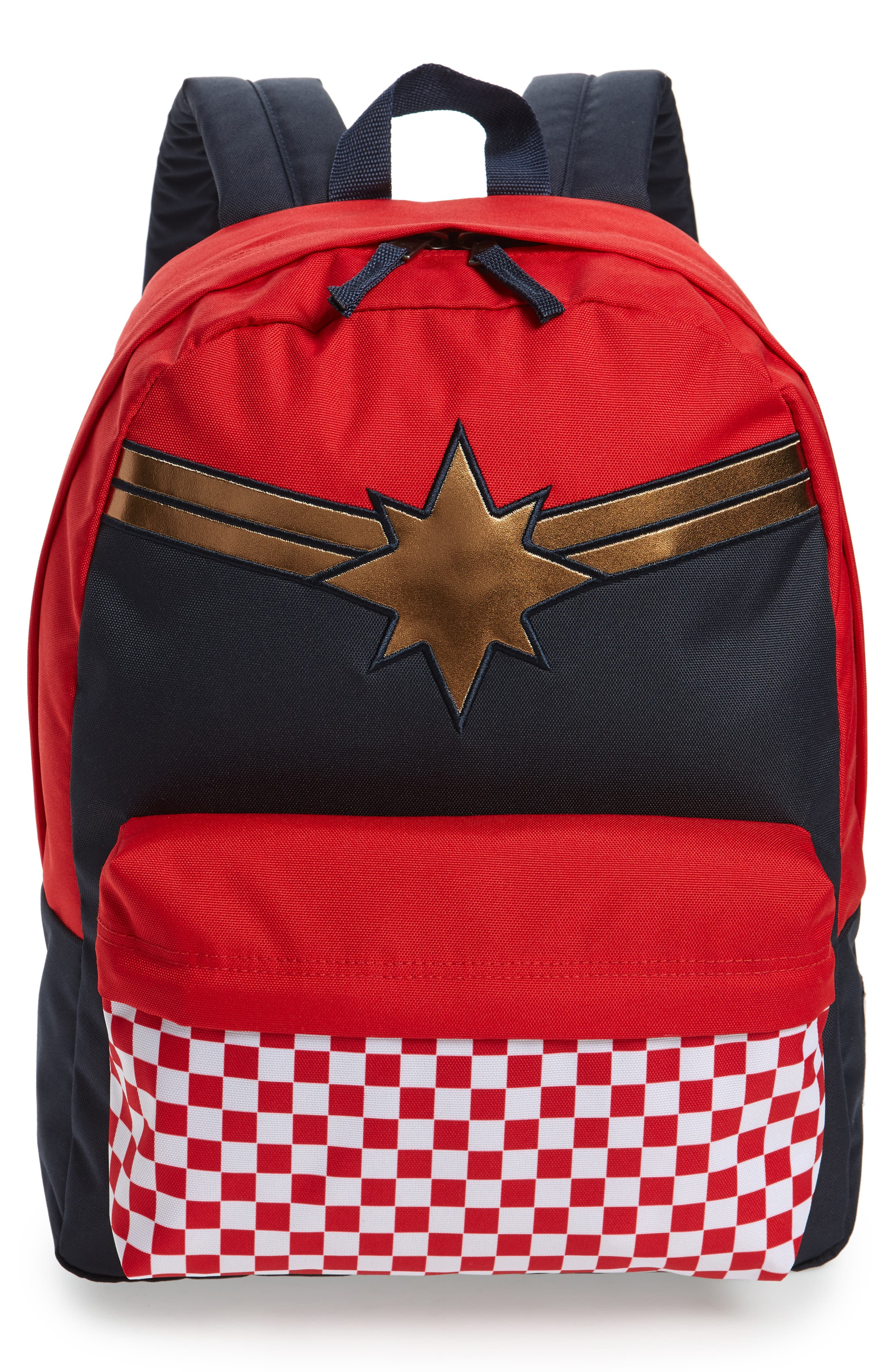 x Marvel<sup>®</sup> Captain Marvel Realm Backpack,                             Main thumbnail 1, color,                             Racing Red