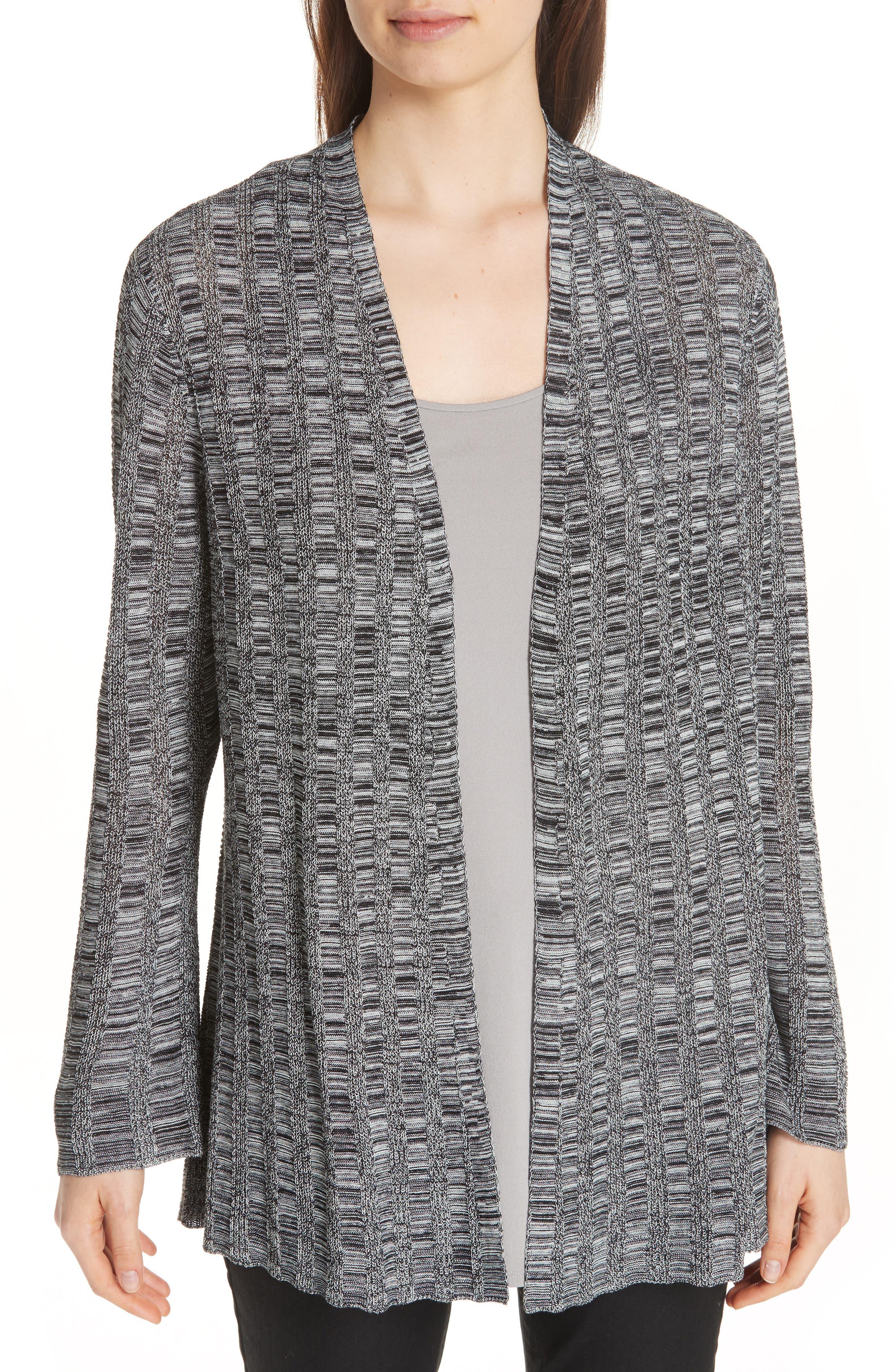 Bell Sleeve Silk Blend Cardigan,                         Main,                         color, Black