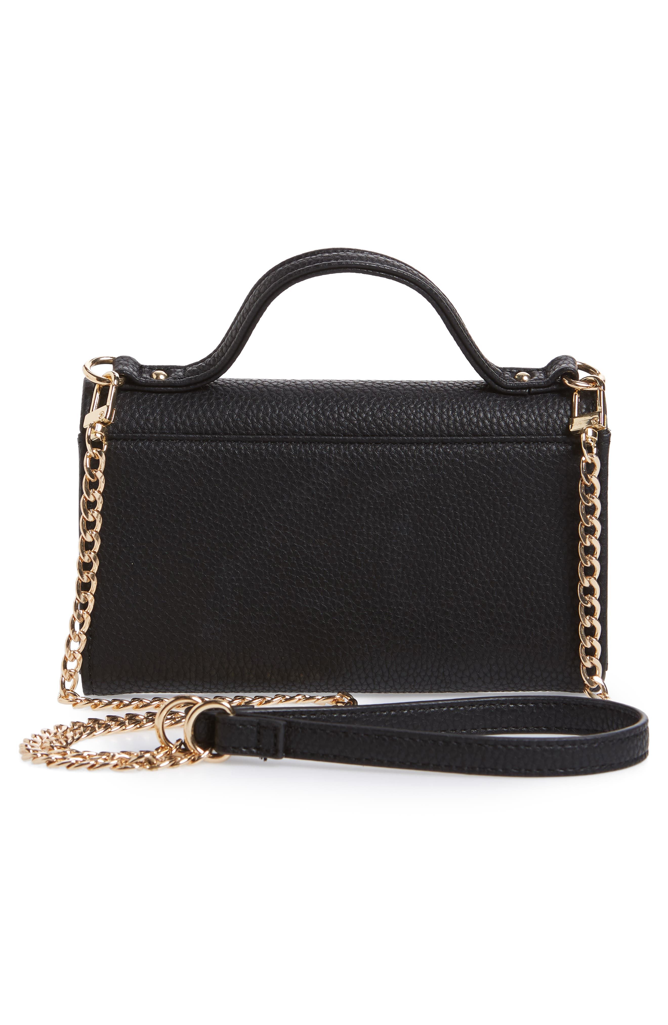 Dharma Faux Leather Wallet on a Chain,                             Alternate thumbnail 3, color,                             Black