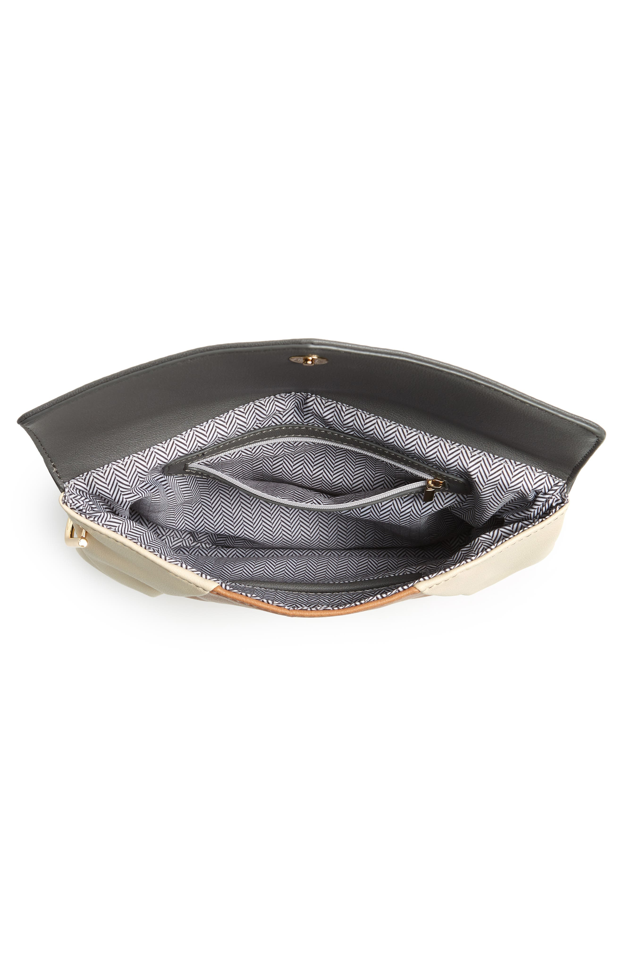 Shea Tricolor Faux Leather Clutch,                             Alternate thumbnail 4, color,                             Grey Multi
