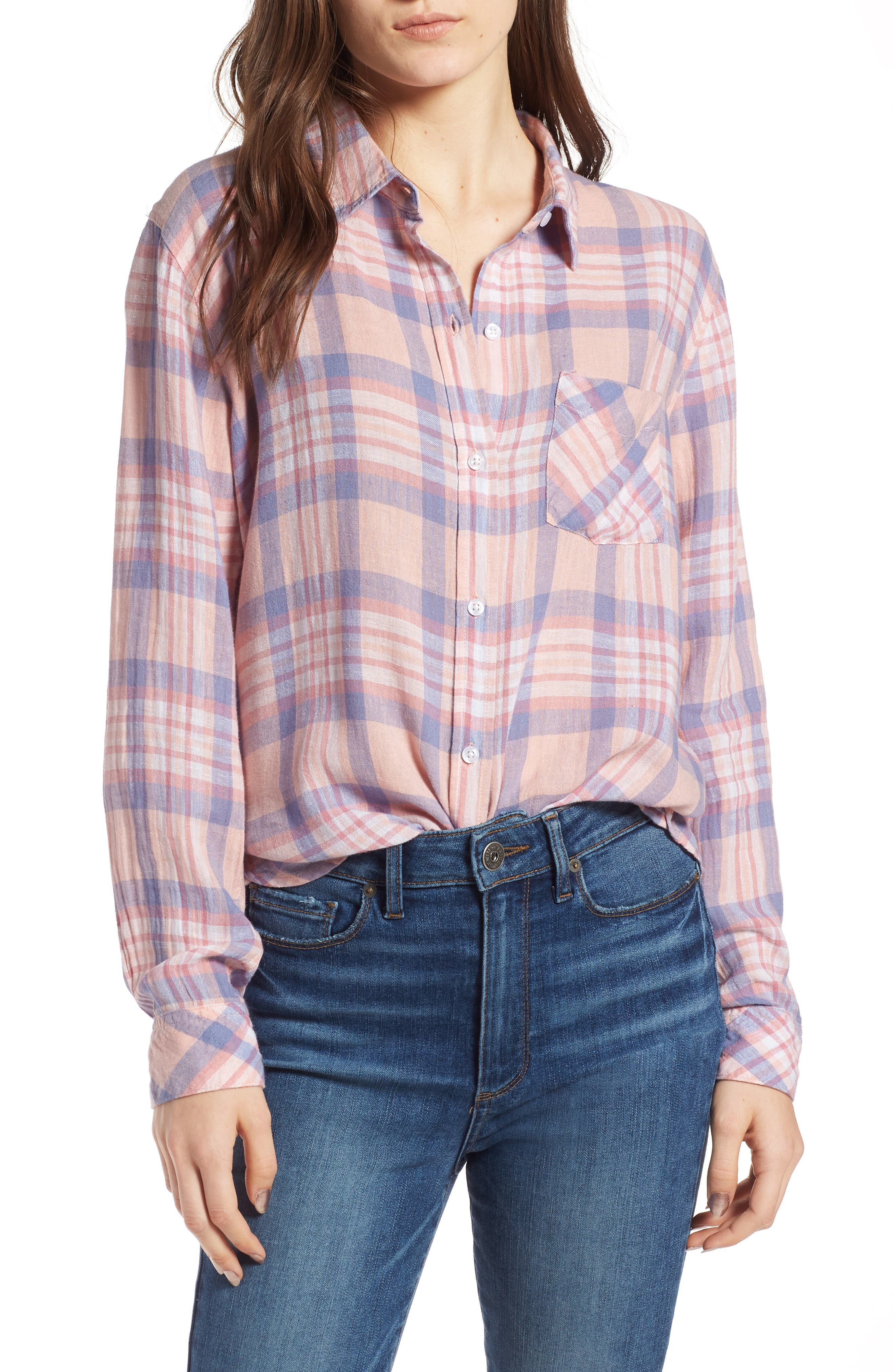 Charli Shirt,                         Main,                         color, Peach Blush Blue