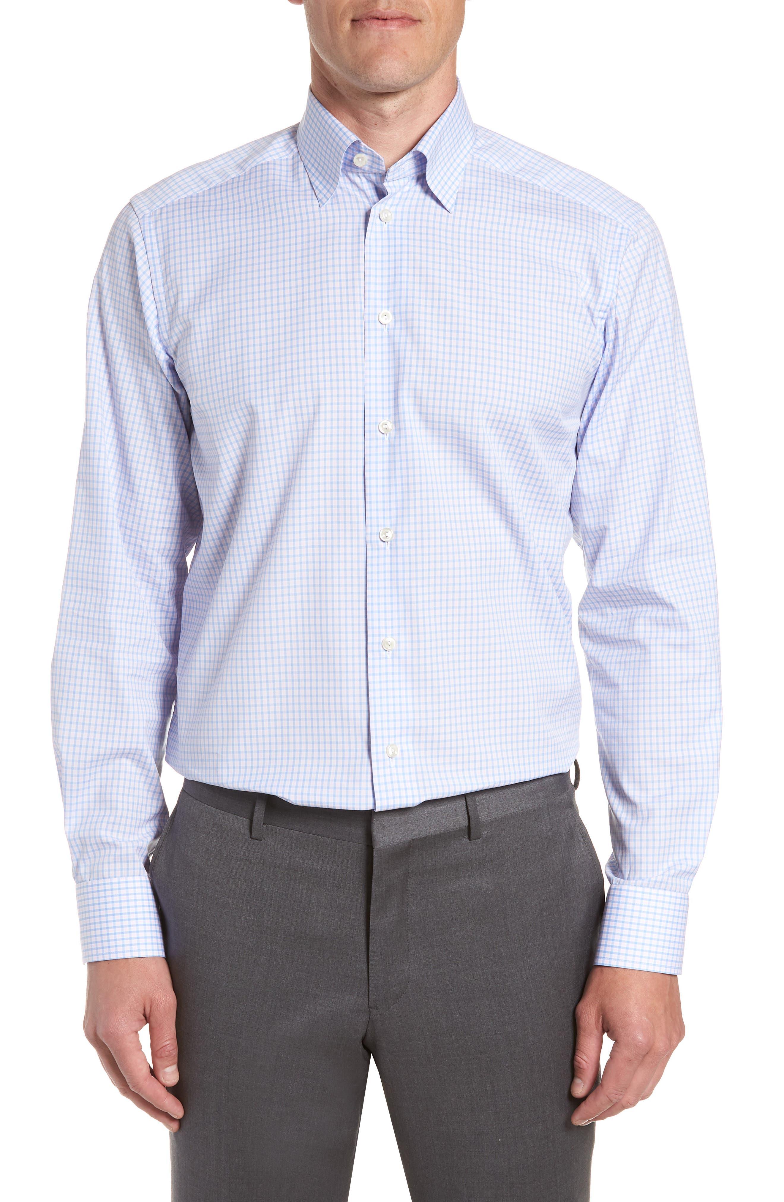 Contemporary Fit Check Dress Shirt,                             Main thumbnail 1, color,                             Pink