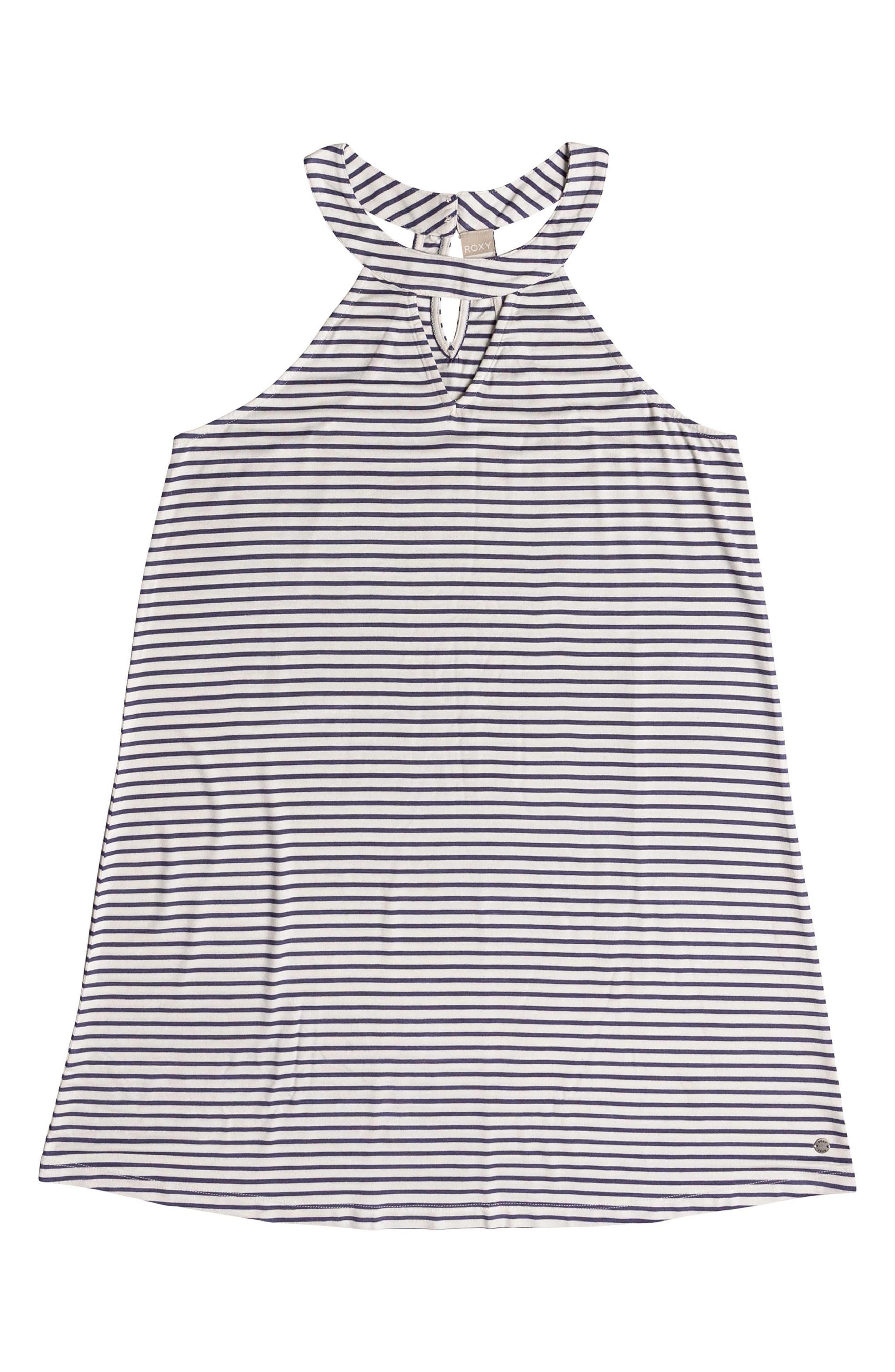 Print Halter Dress,                             Alternate thumbnail 4, color,                             Crown Blue Cool Stripe