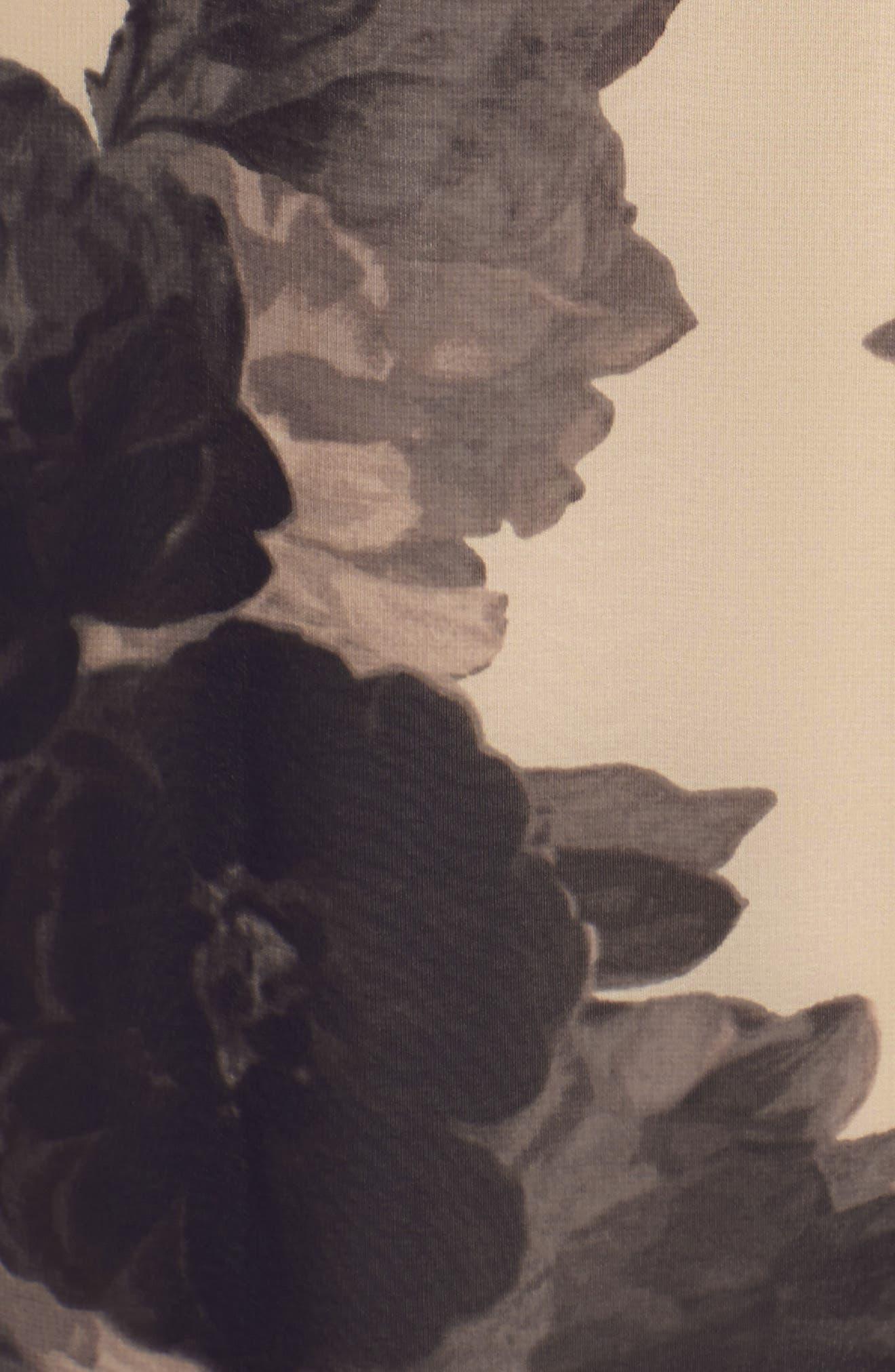 Floral Print Chiffon Maxi Dress,                             Alternate thumbnail 5, color,                             Taupe/ Black