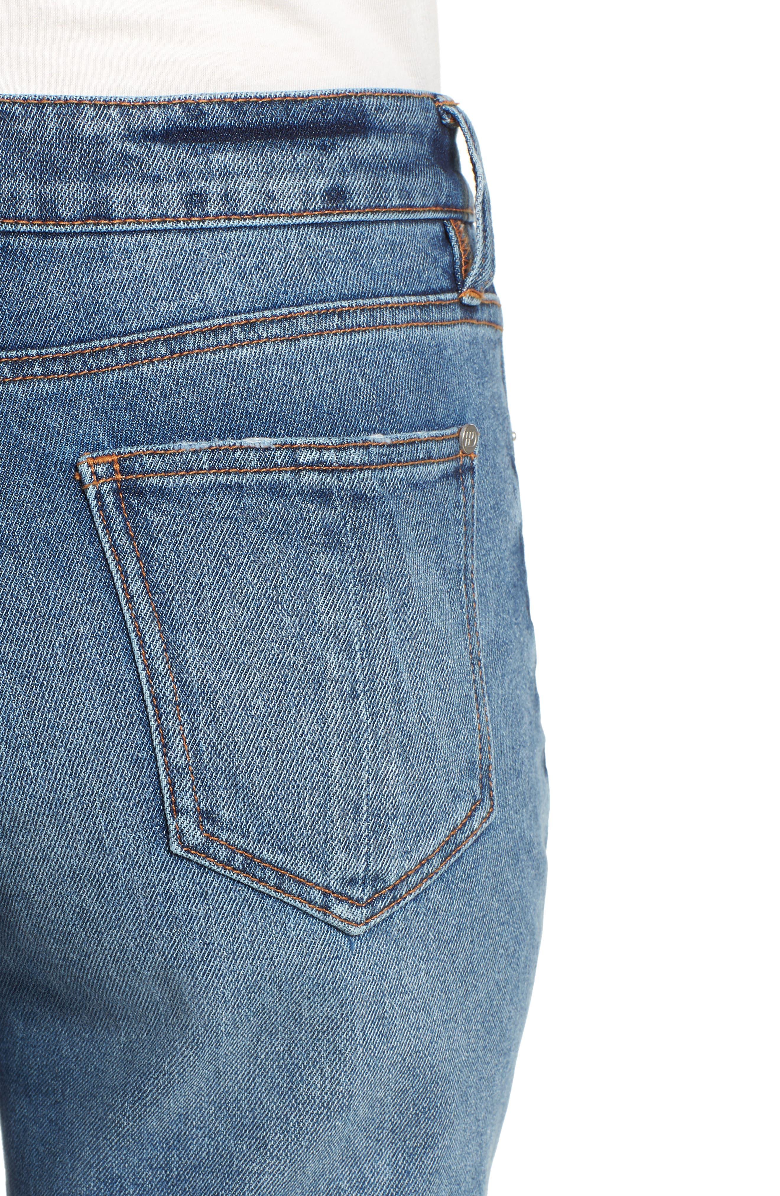 Ankle Straight Leg Jeans,                             Alternate thumbnail 4, color,                             Medium Wash
