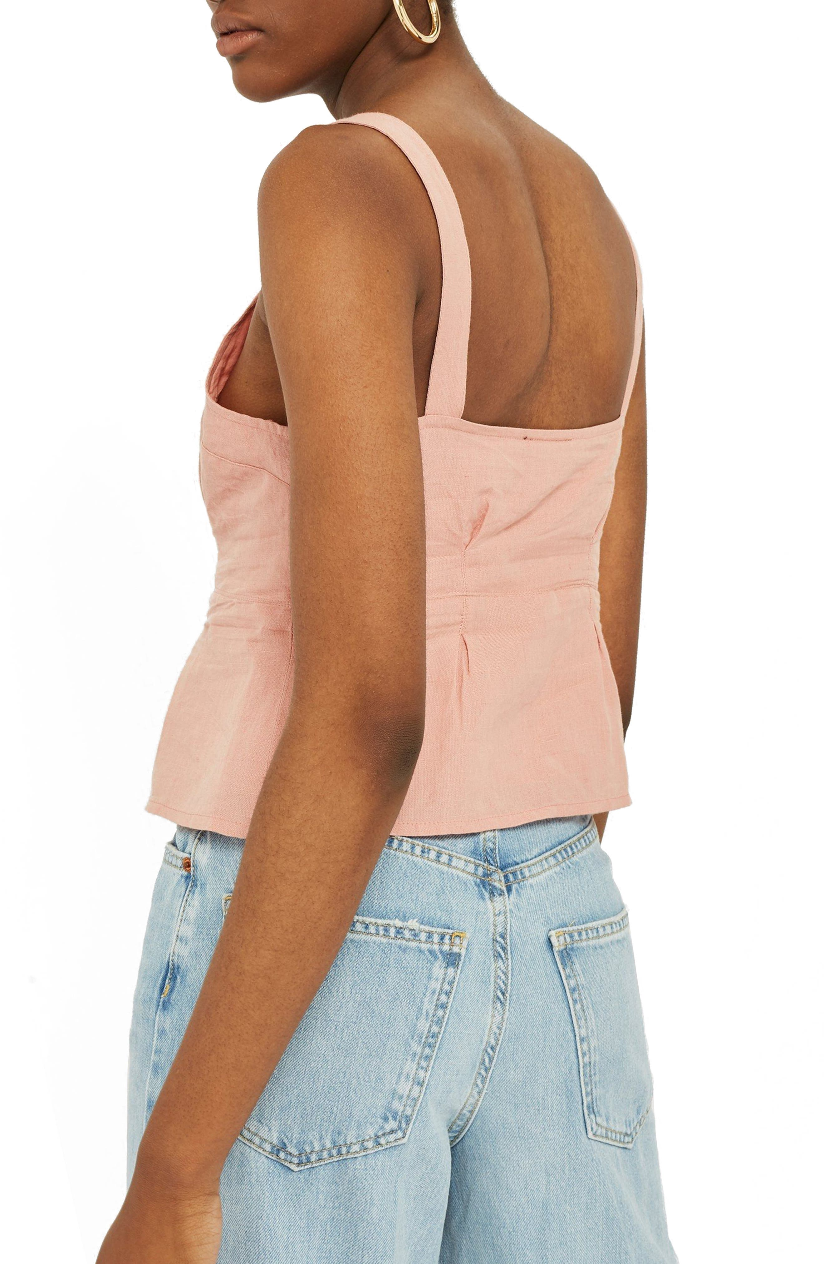 Structured Button Camisole Top,                             Alternate thumbnail 3, color,                             Dusty Pink