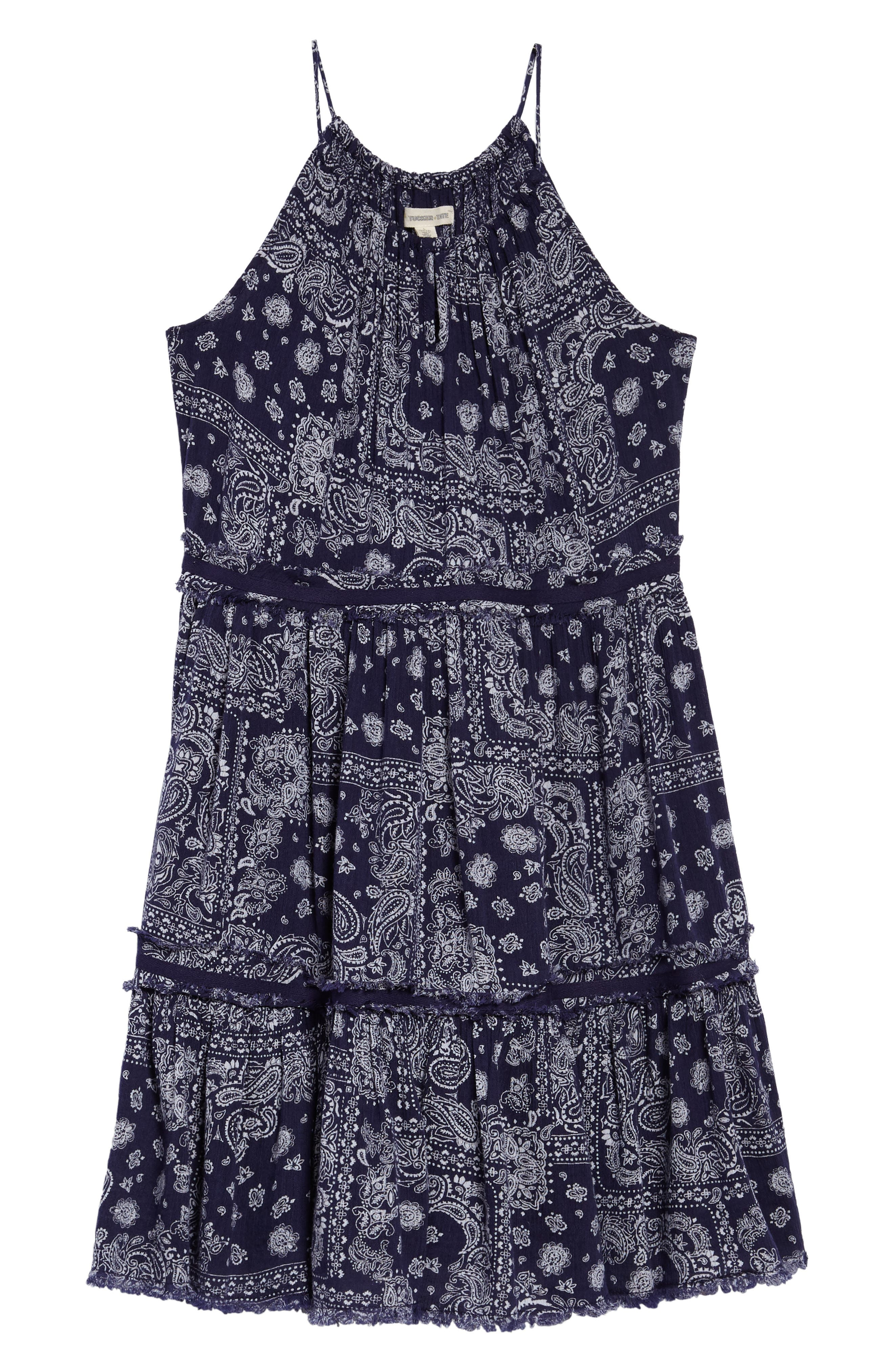 Gauzy TIered Dress,                             Main thumbnail 1, color,                             Navy Ribbon Bandana