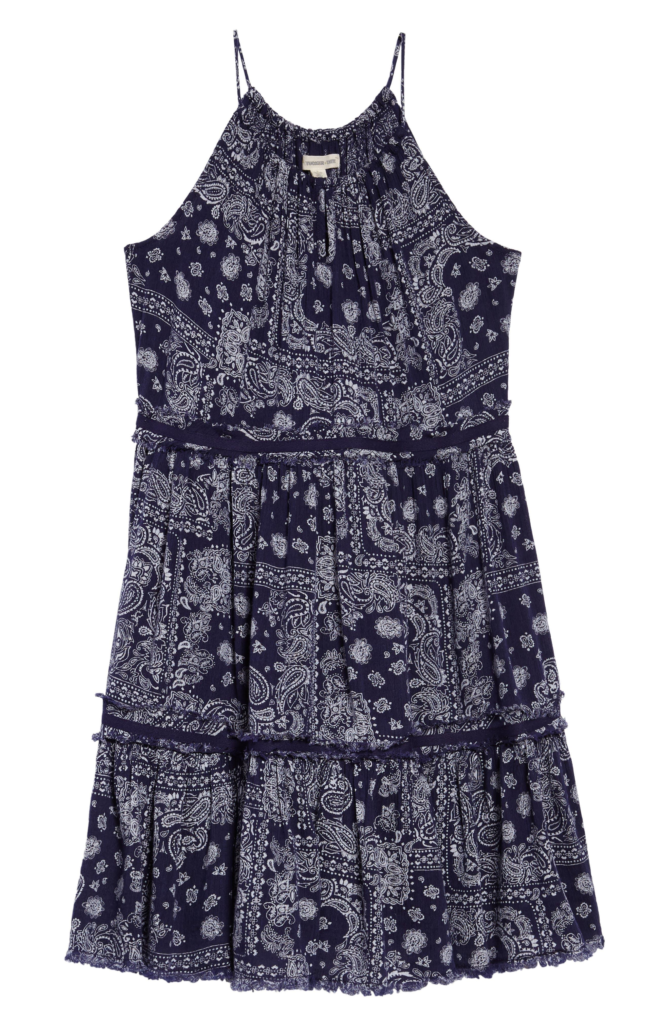Gauzy TIered Dress,                         Main,                         color, Navy Ribbon Bandana