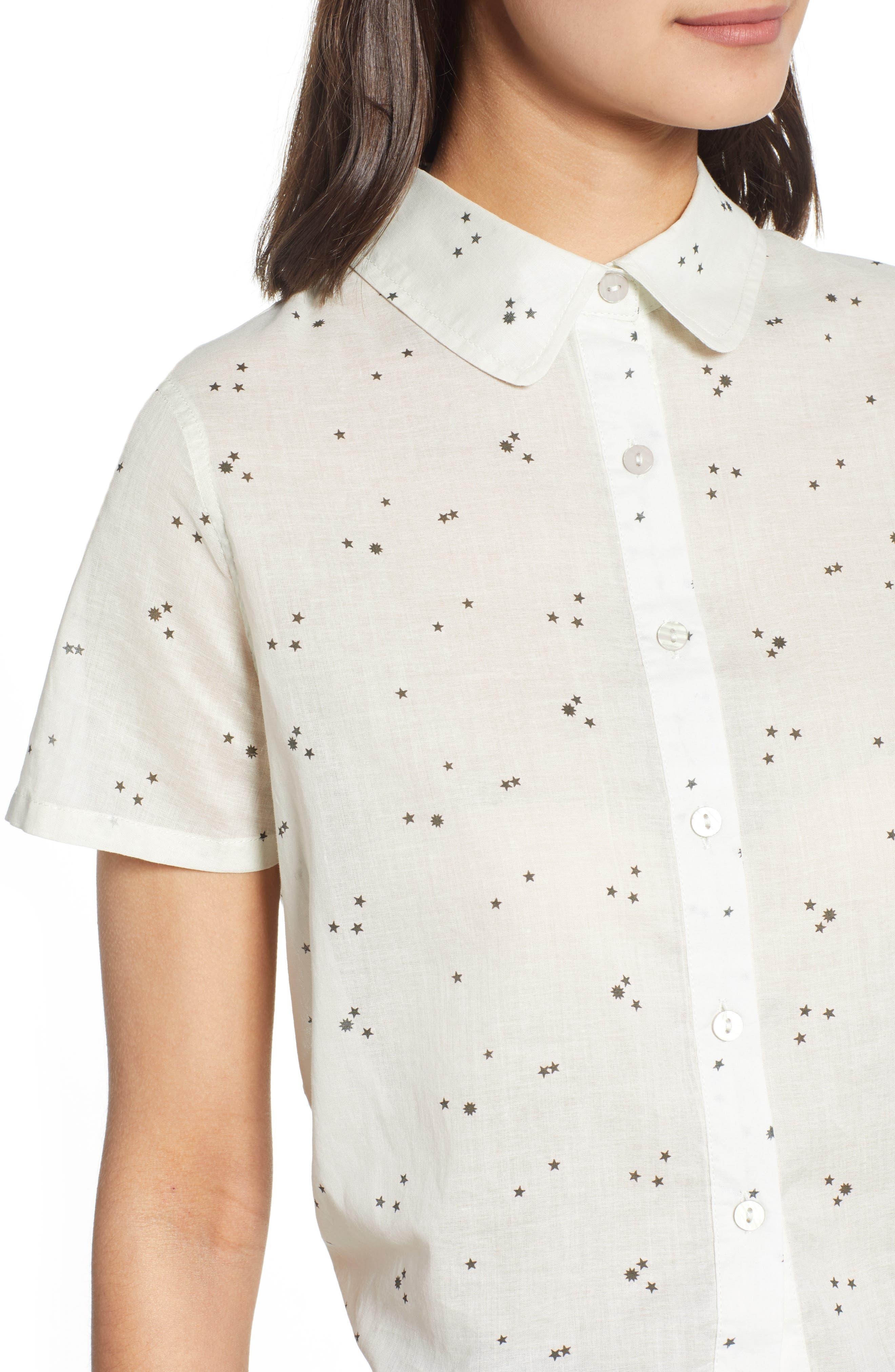 Tie Back Camp Shirt,                             Alternate thumbnail 4, color,                             White Star Print