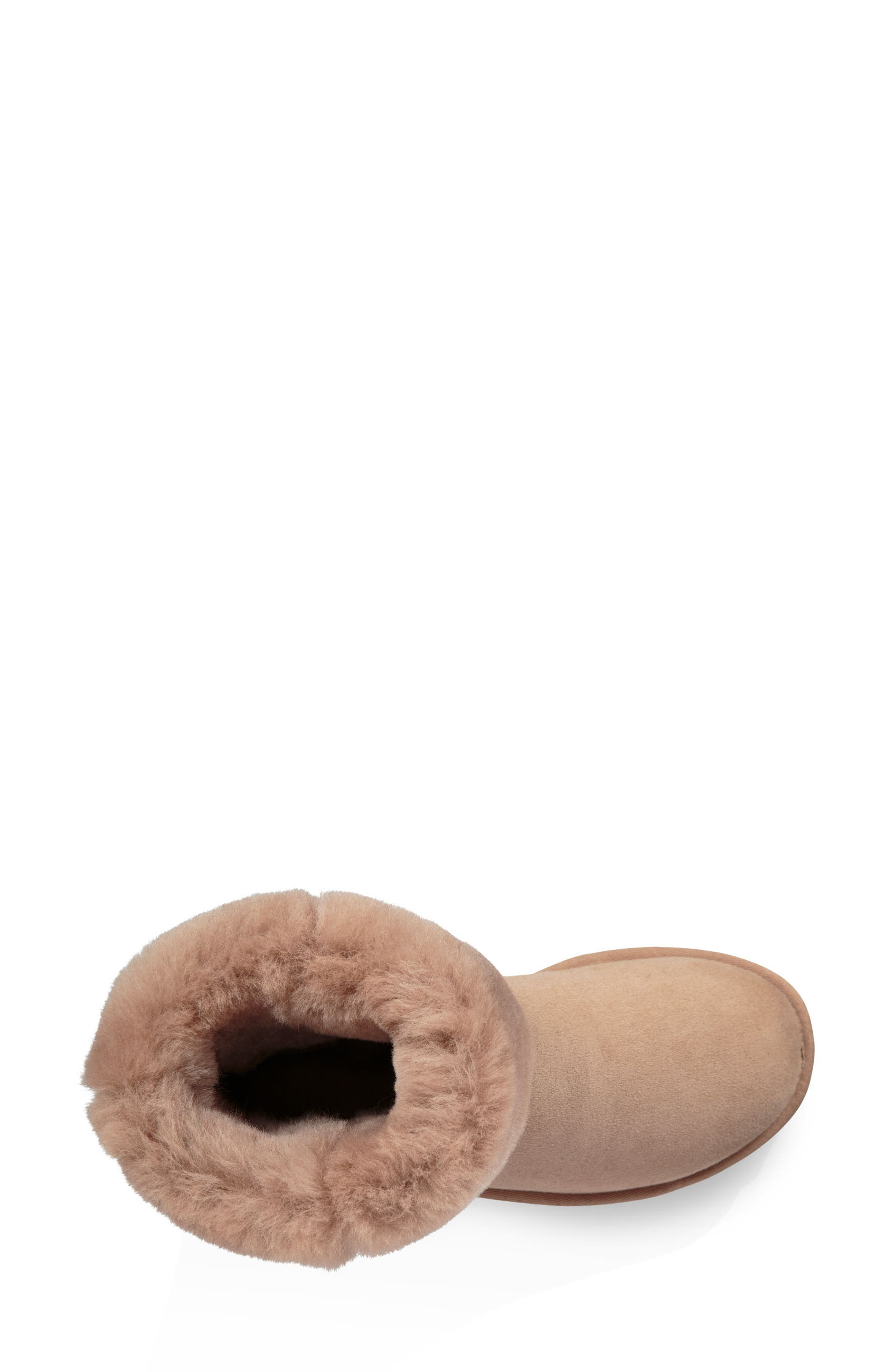 'Classic II' Genuine Shearling Lined Short Boot,                             Alternate thumbnail 4, color,                             Fawn Suede