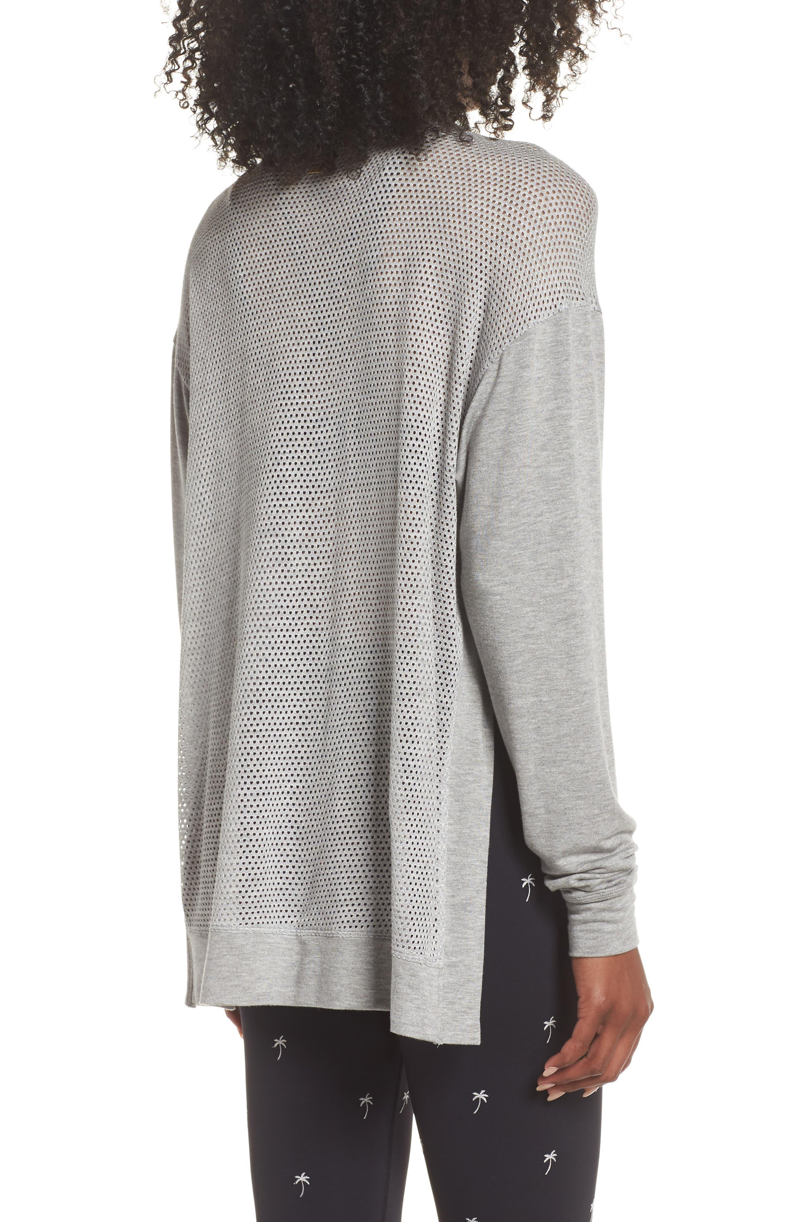Heron Mesh Back Sweatshirt,                             Alternate thumbnail 2, color,                             Heather Grey