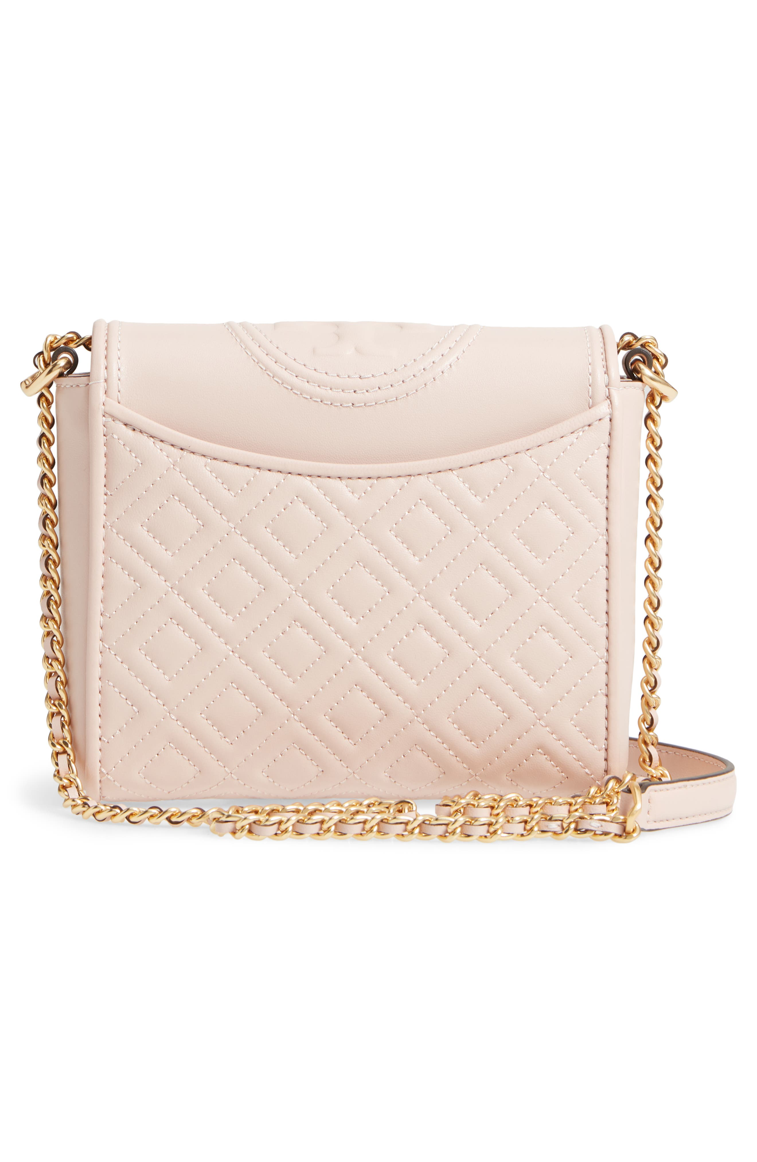 Fleming Quilted Leather Crossbody Bag,                             Alternate thumbnail 4, color,                             Shell Pink