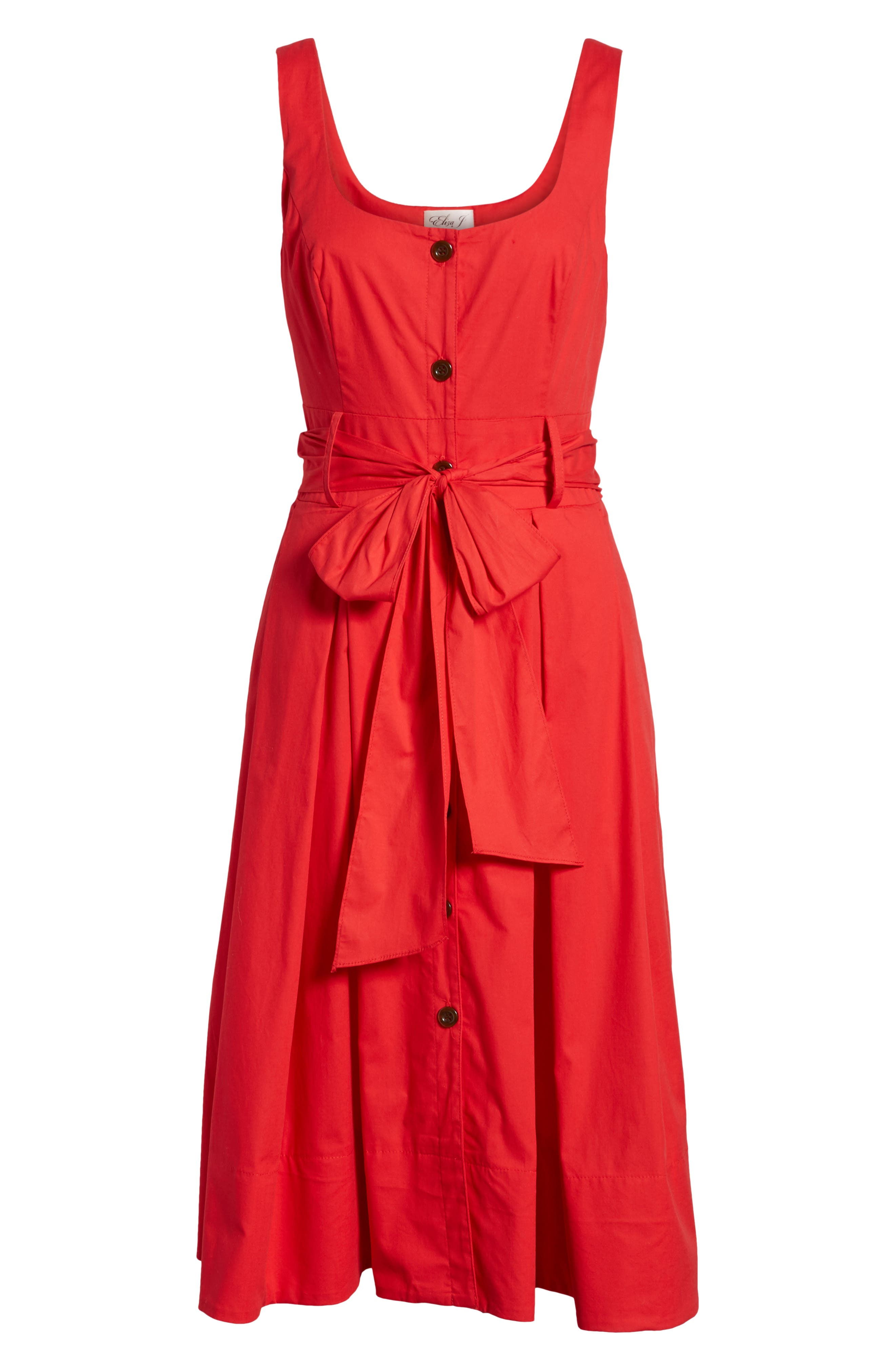 Button Front Fit & Flare Midi Dress,                             Alternate thumbnail 7, color,                             Red Saucy