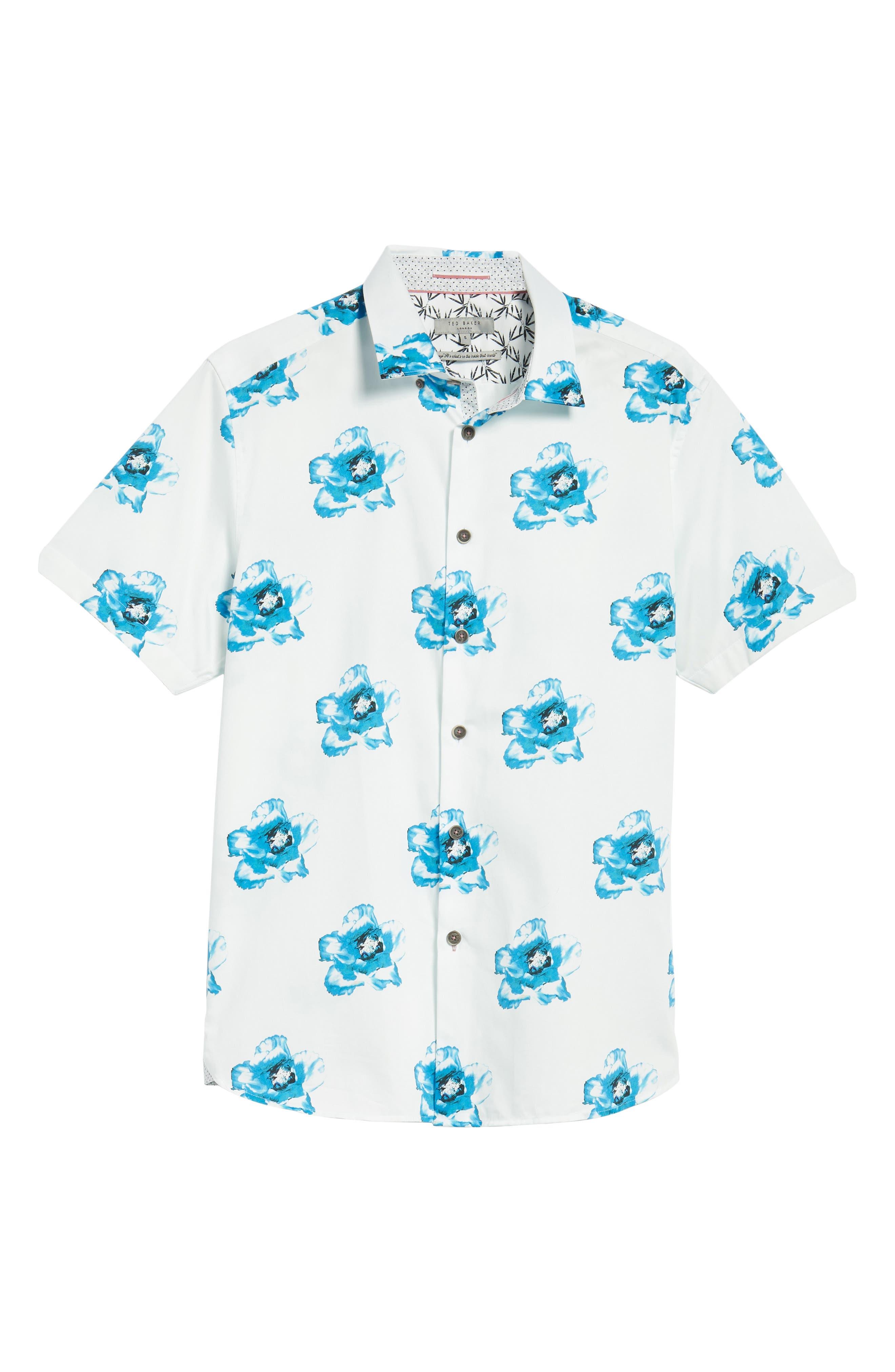 Silky Trim Fit Short Sleeve Sport Shirt,                             Alternate thumbnail 6, color,                             White