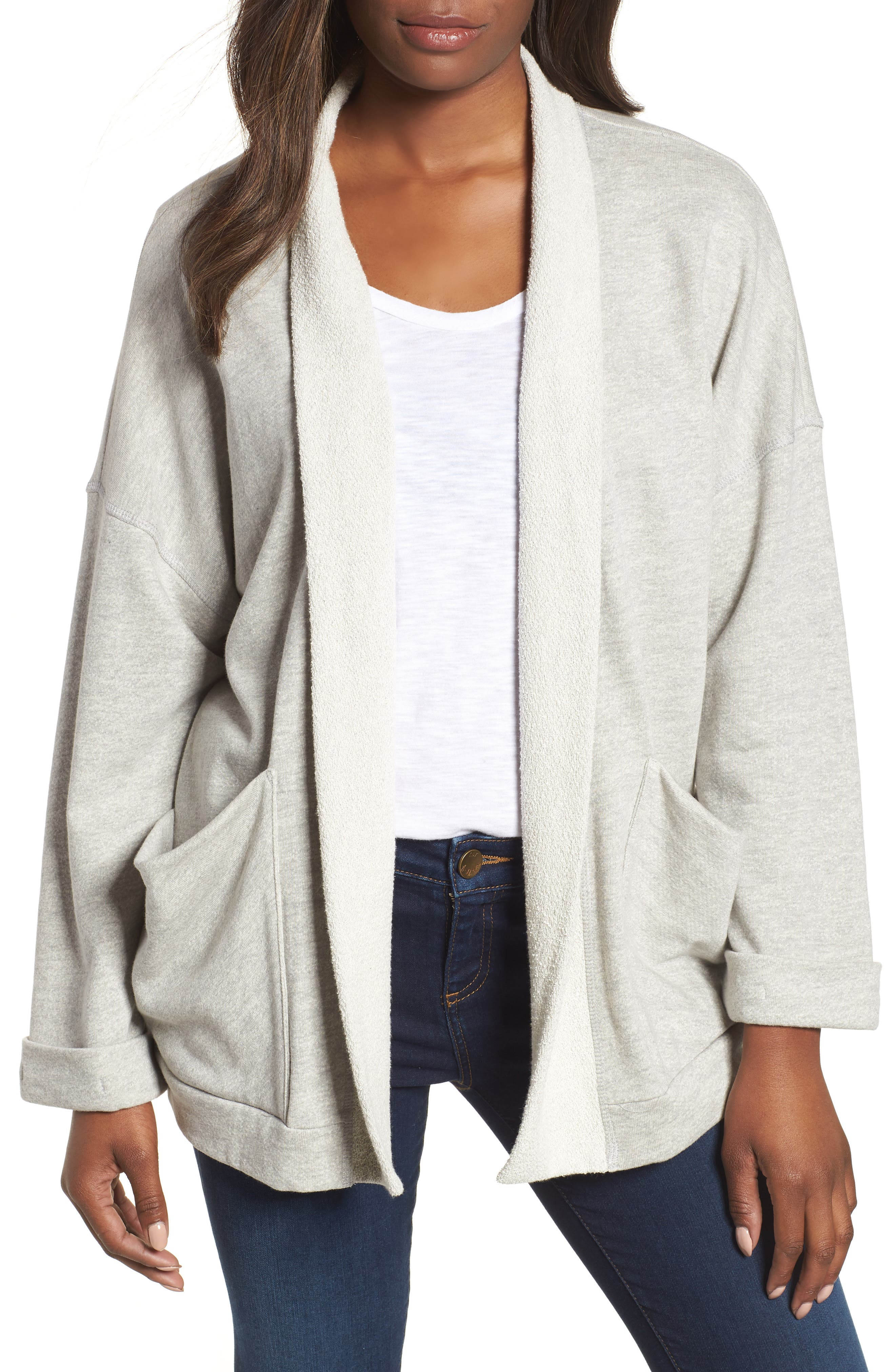 Off-Duty Roll Sleeve Cotton Blend Jacket,                         Main,                         color, Grey Heather