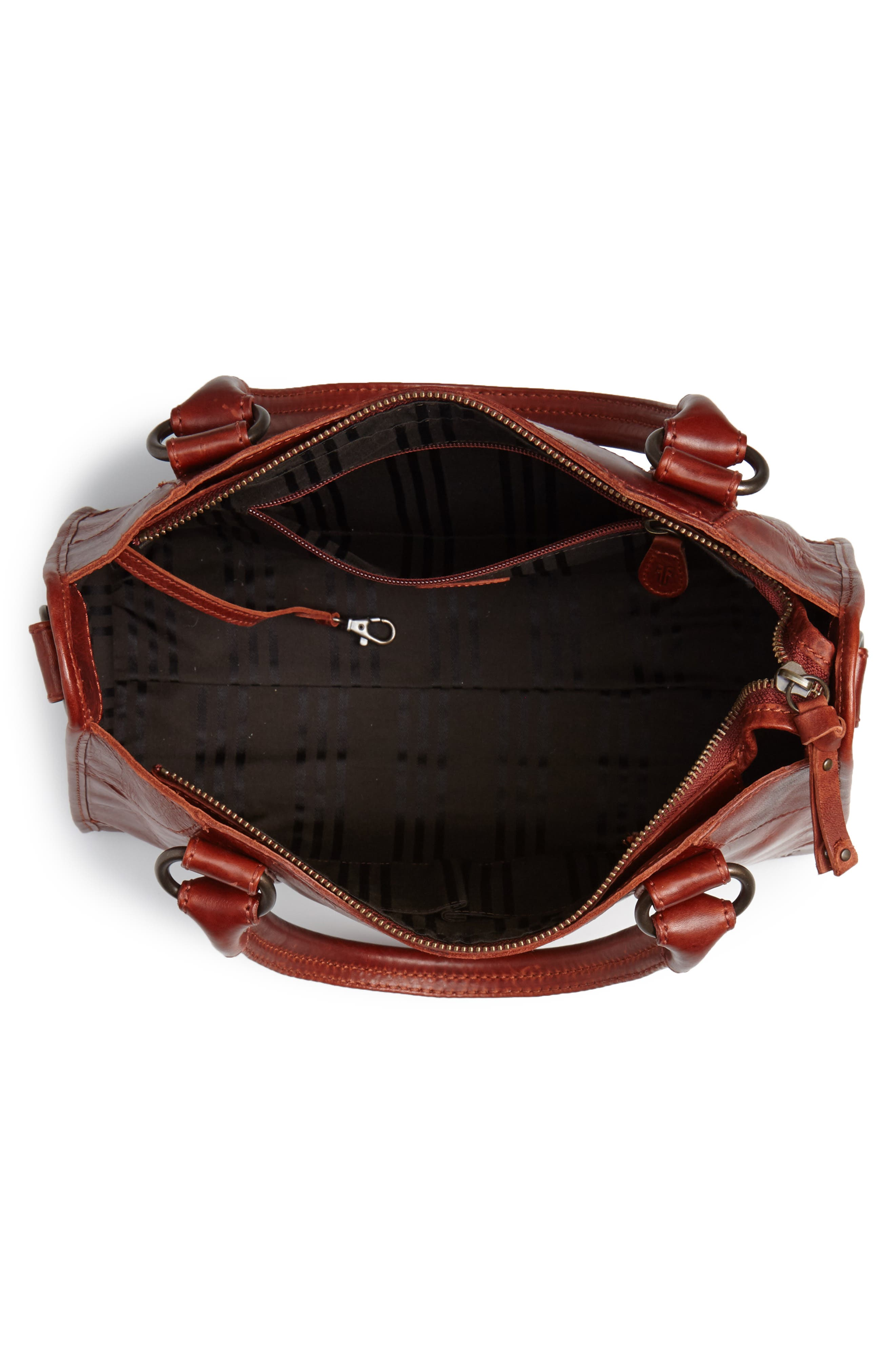 'Melissa' Washed Leather Satchel,                             Alternate thumbnail 4, color,                             Red Clay