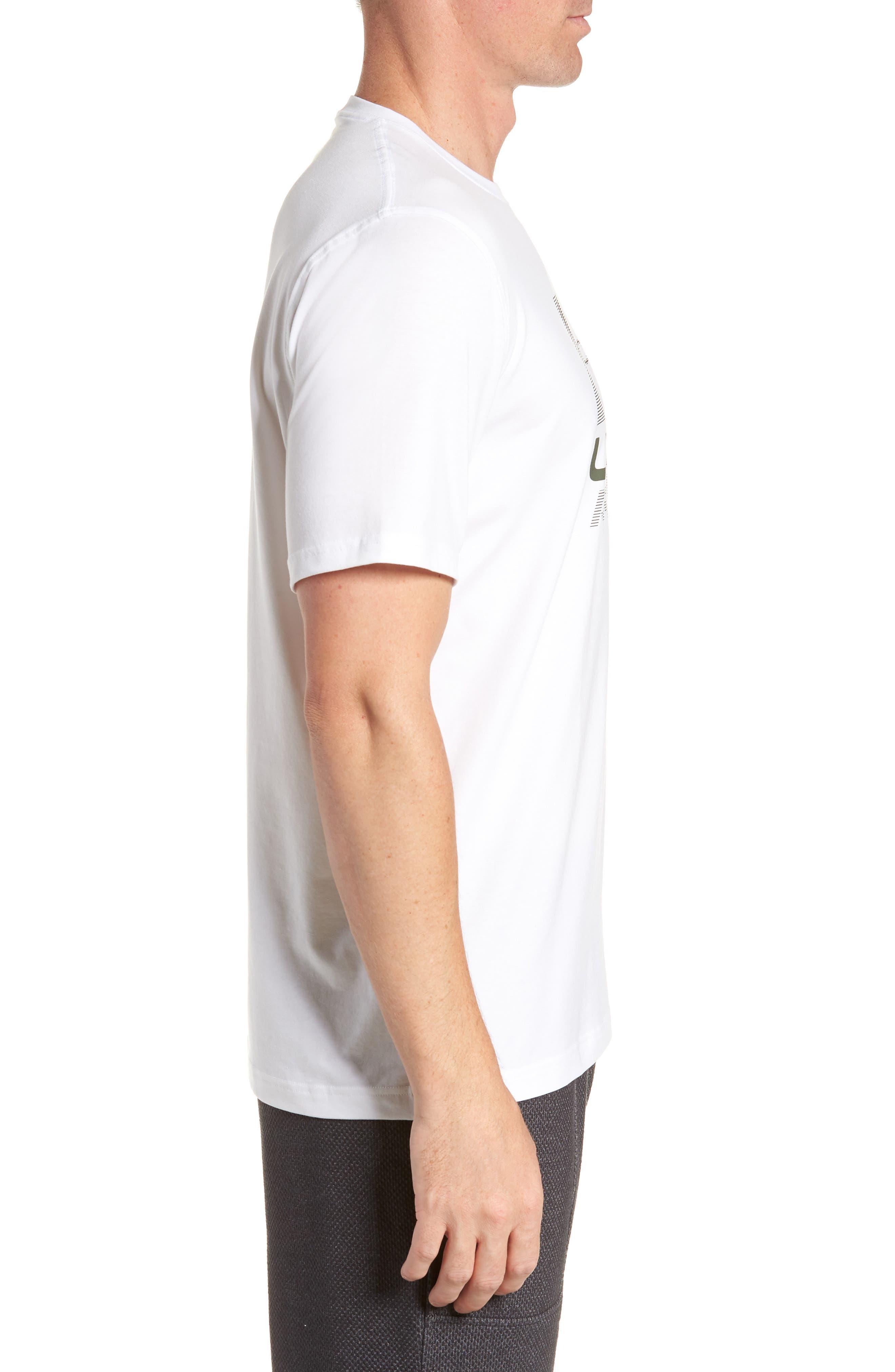 Trim Fit Vanish Logo T-Shirt,                             Alternate thumbnail 3, color,                             White/ Black/ Downtown Green