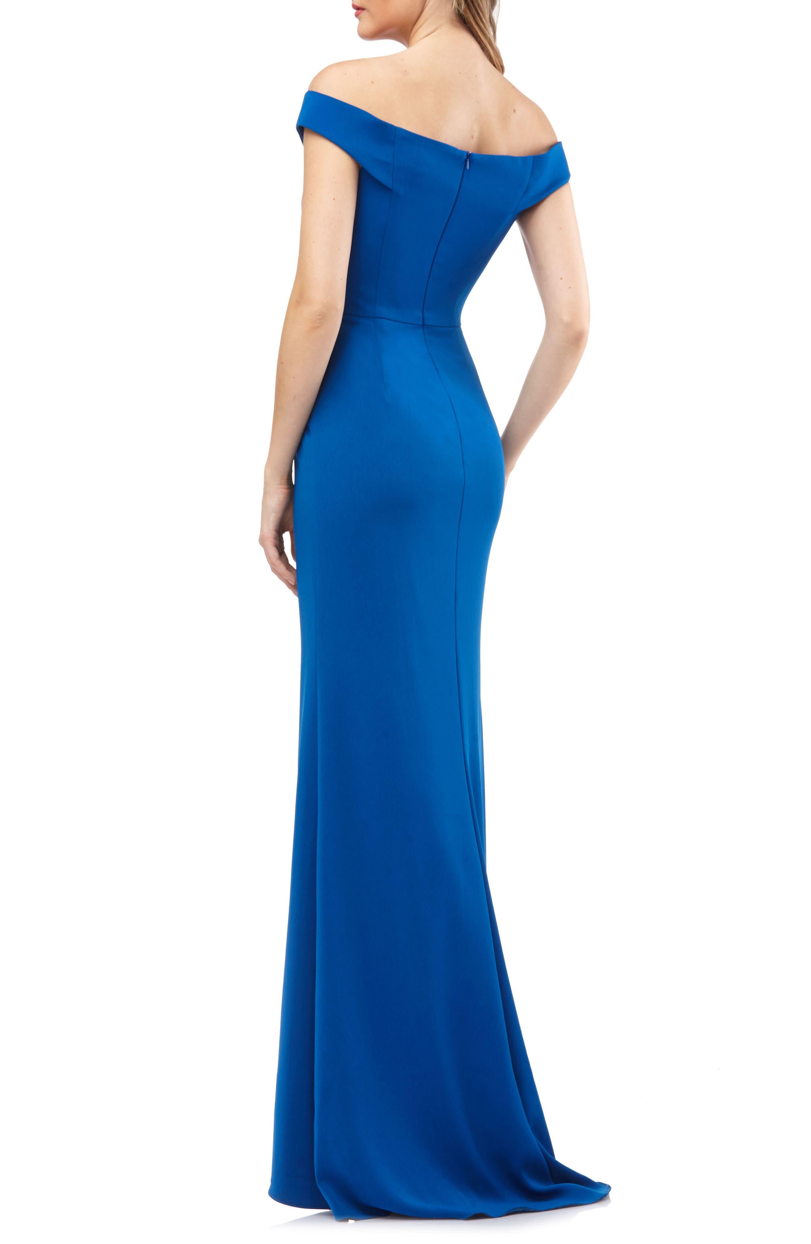 Carmen Marc Valvo Crepe Gown,                             Alternate thumbnail 2, color,                             Sapphire